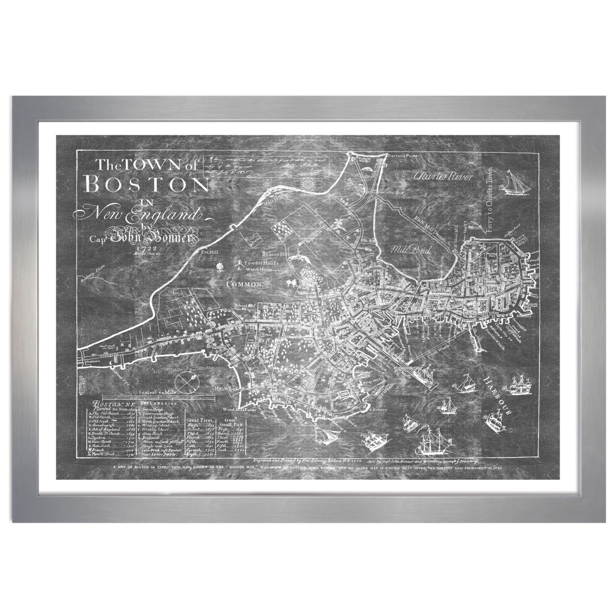 Shop Olivergal Town Of Boston Map 1722 Inverted Silver Metallic