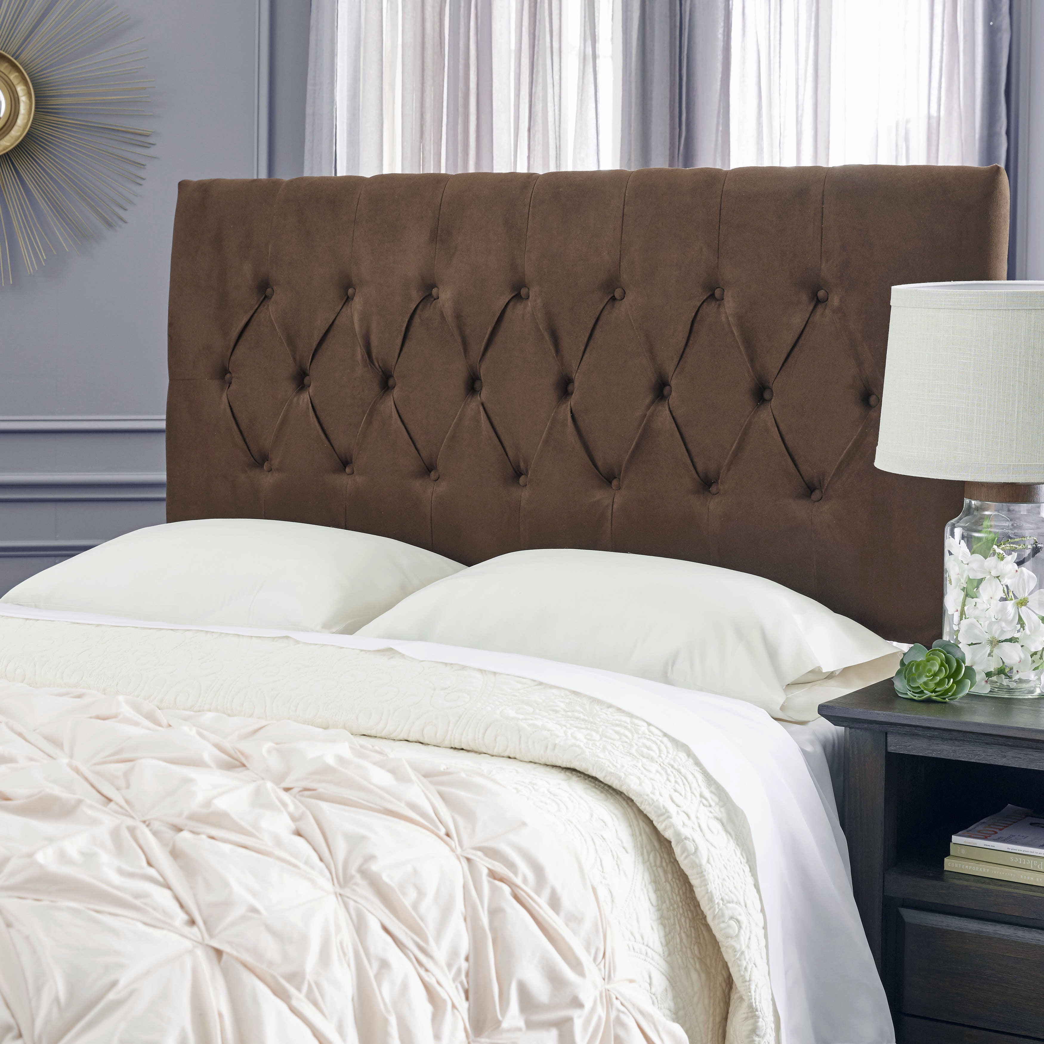 Humble haute hudson suede chocolate brown upholstered headboard