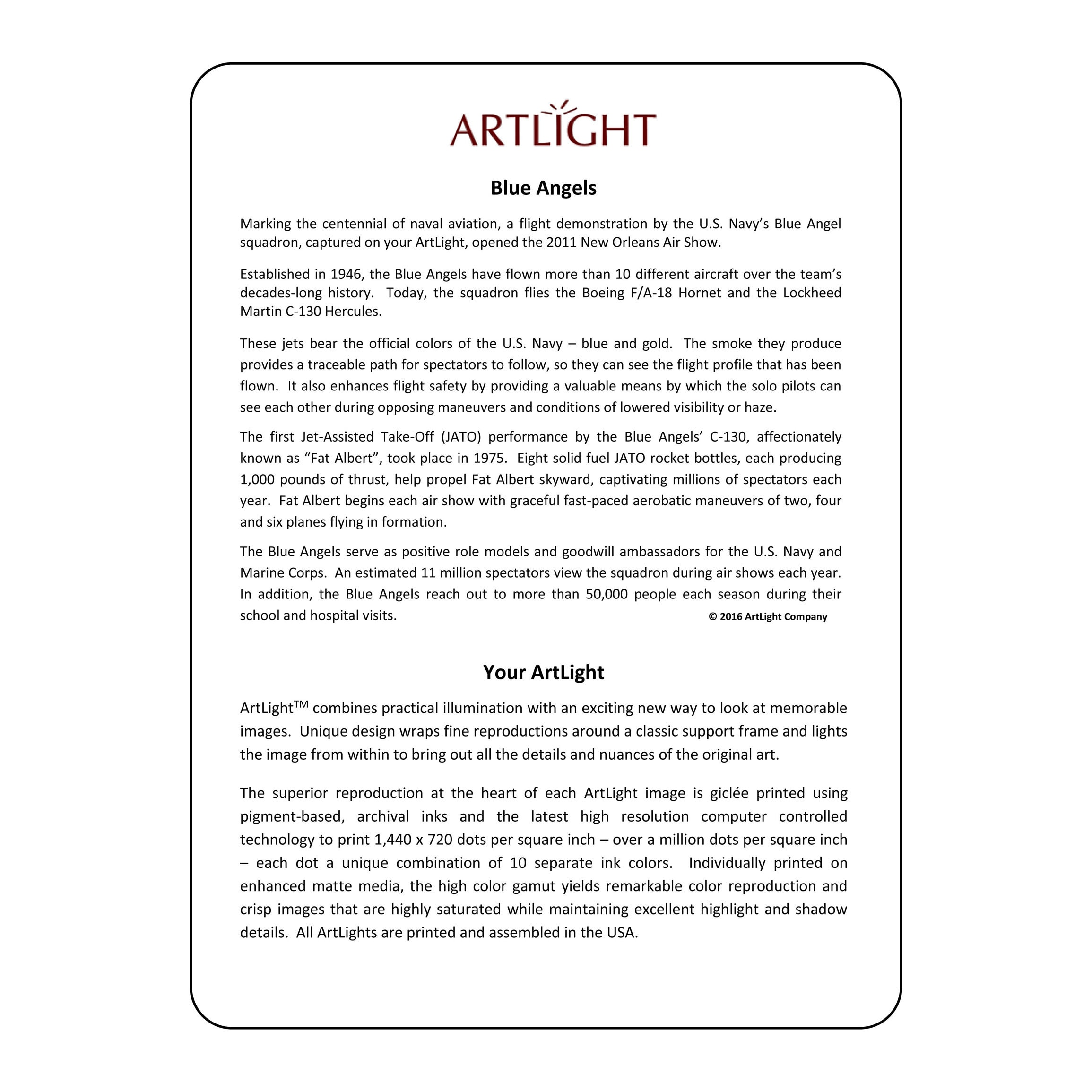 ArtLight \'Blue Angels\' More Than A Lamp, Framed Art Now Comes Down ...
