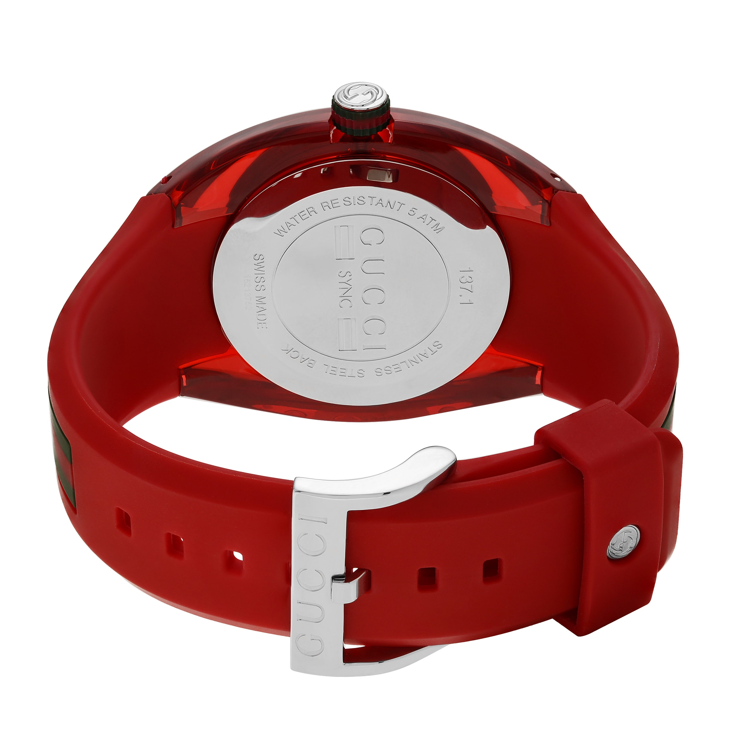 69719eeb732 Shop Gucci Unisex YA137103  Sync XXL  Stainless Steel Red Transparent Case Strap  Watch - Free Shipping Today - Overstock - 15266645