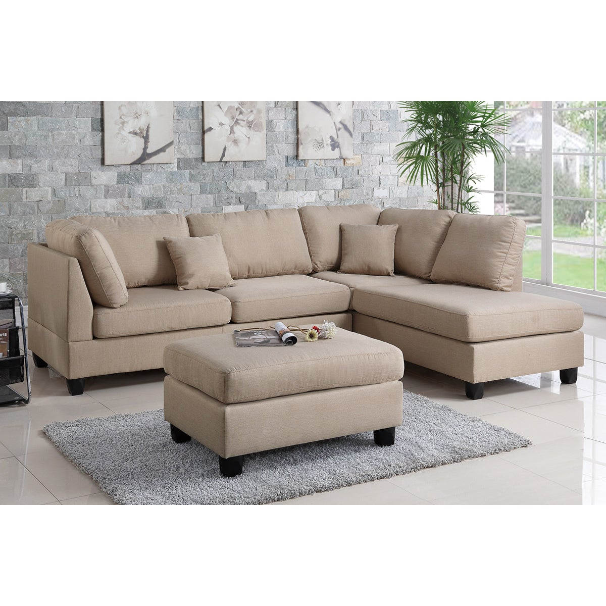 Shop bobkona dervon linen like left or right hand chaise sectional set with ottoman free shipping today overstock com 15267485