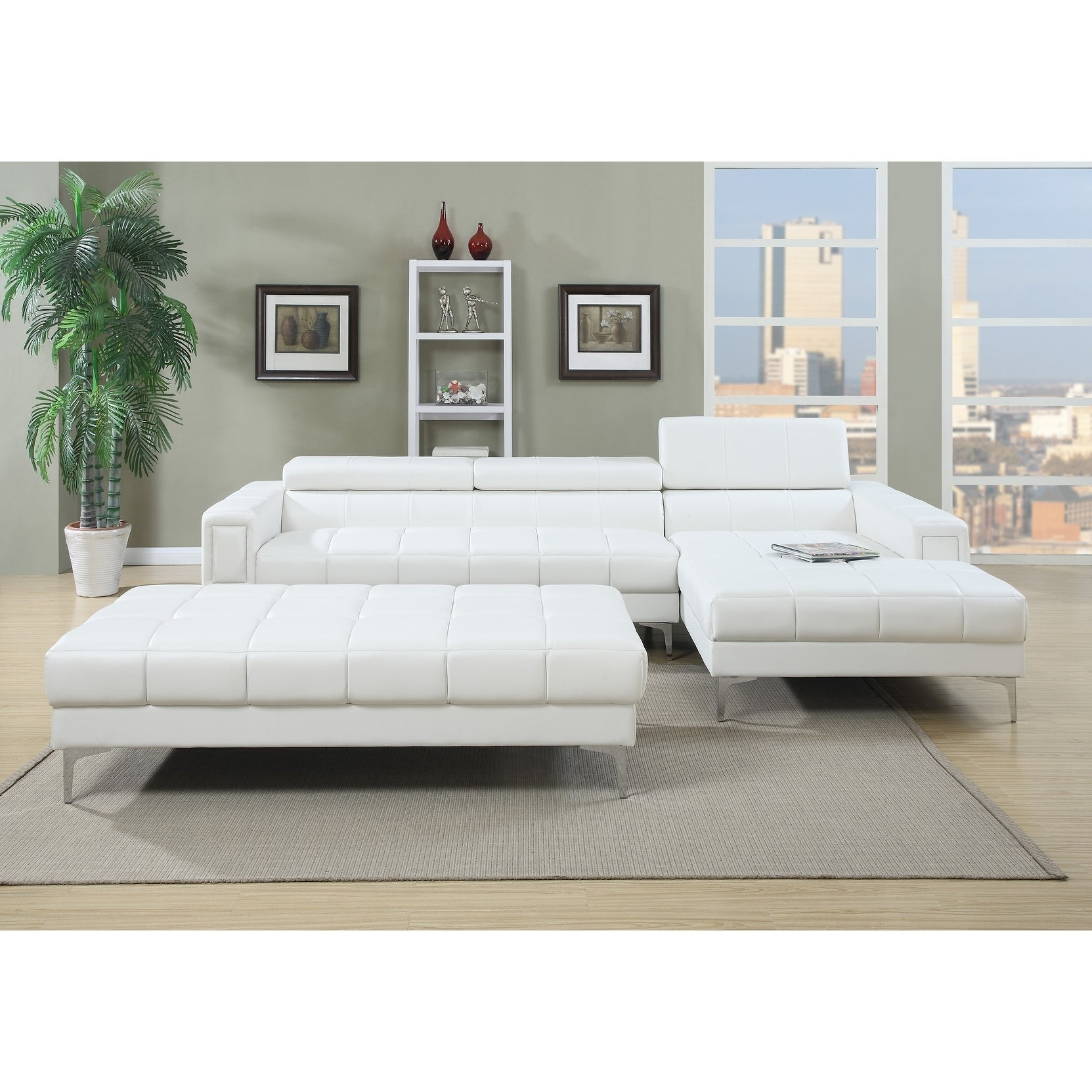 Bobkona Hayden Bonded Leather 2 Pcs Sectional Sofa Loveseat With Adjule Back Ottoman Not Included