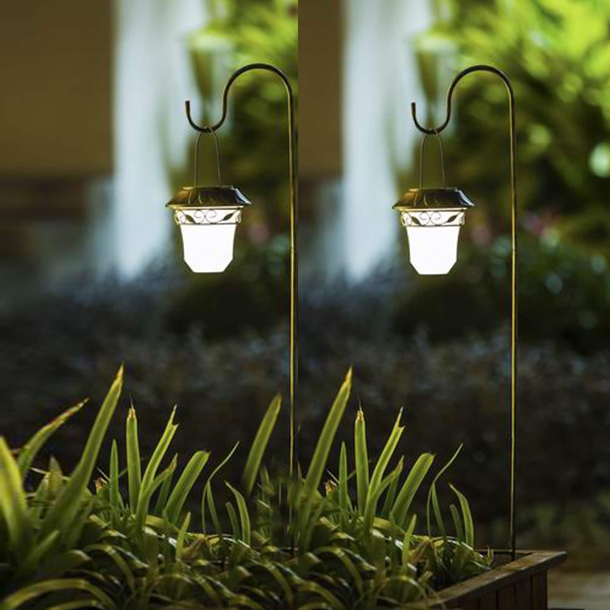 Set Of 2 Decorative Leaves Design Hanging Solar Lights With Shepherd S Hook