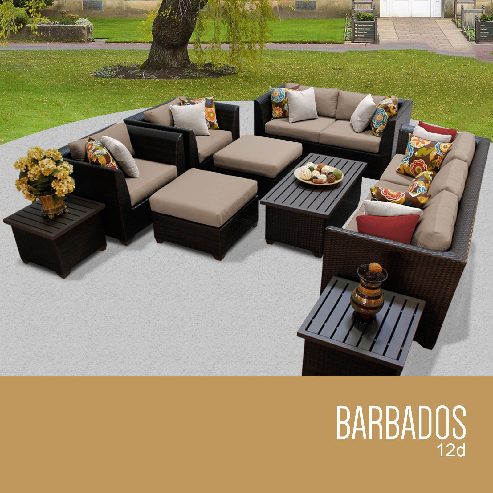 Lovely Shop Barbados 12 Piece Outdoor Wicker Patio Furniture Set 12d   Free  Shipping Today   Overstock.com   15269093