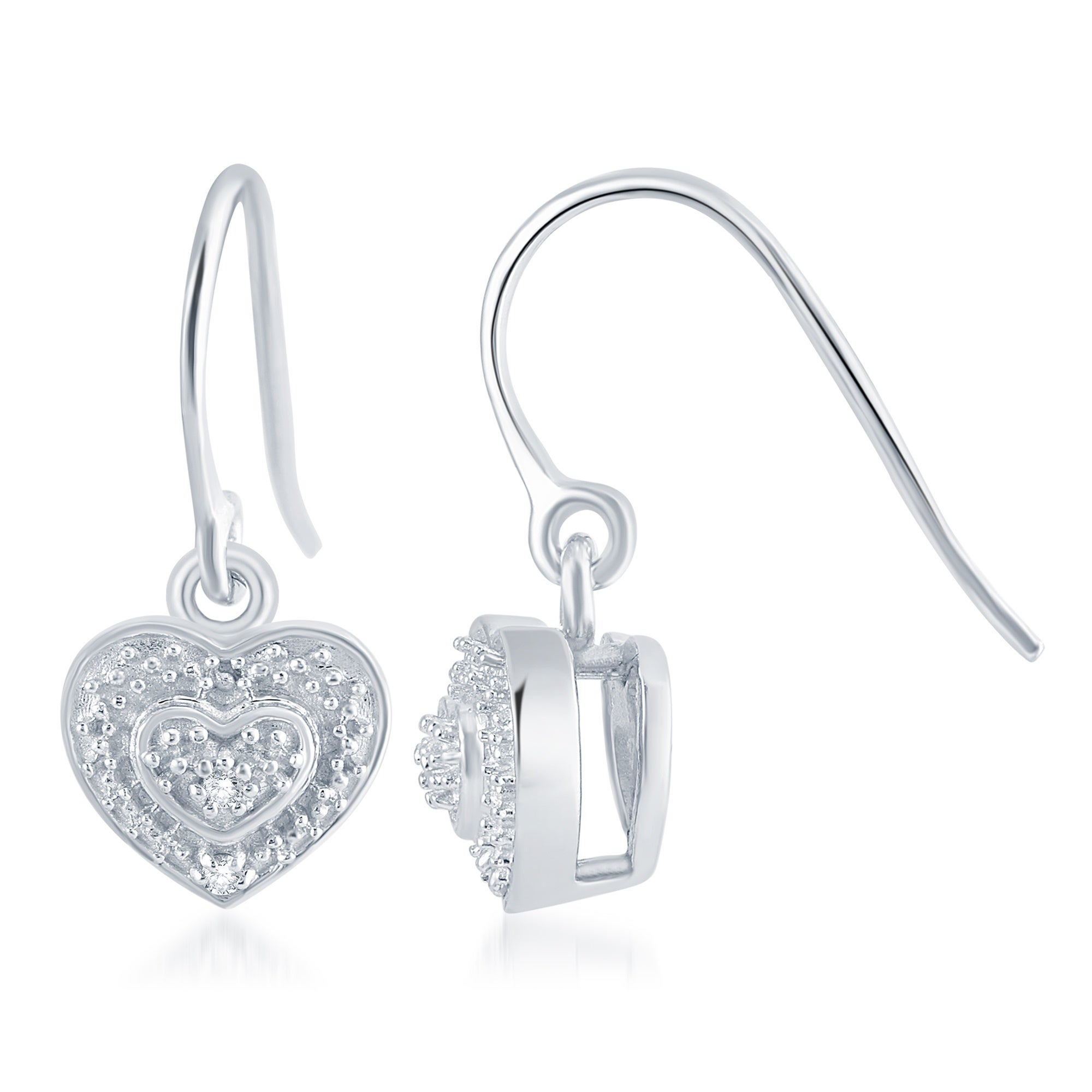 Sterling Silver 0 04ct Tdw Diamond Heart Dangle Earring Free Shipping Today 21742794