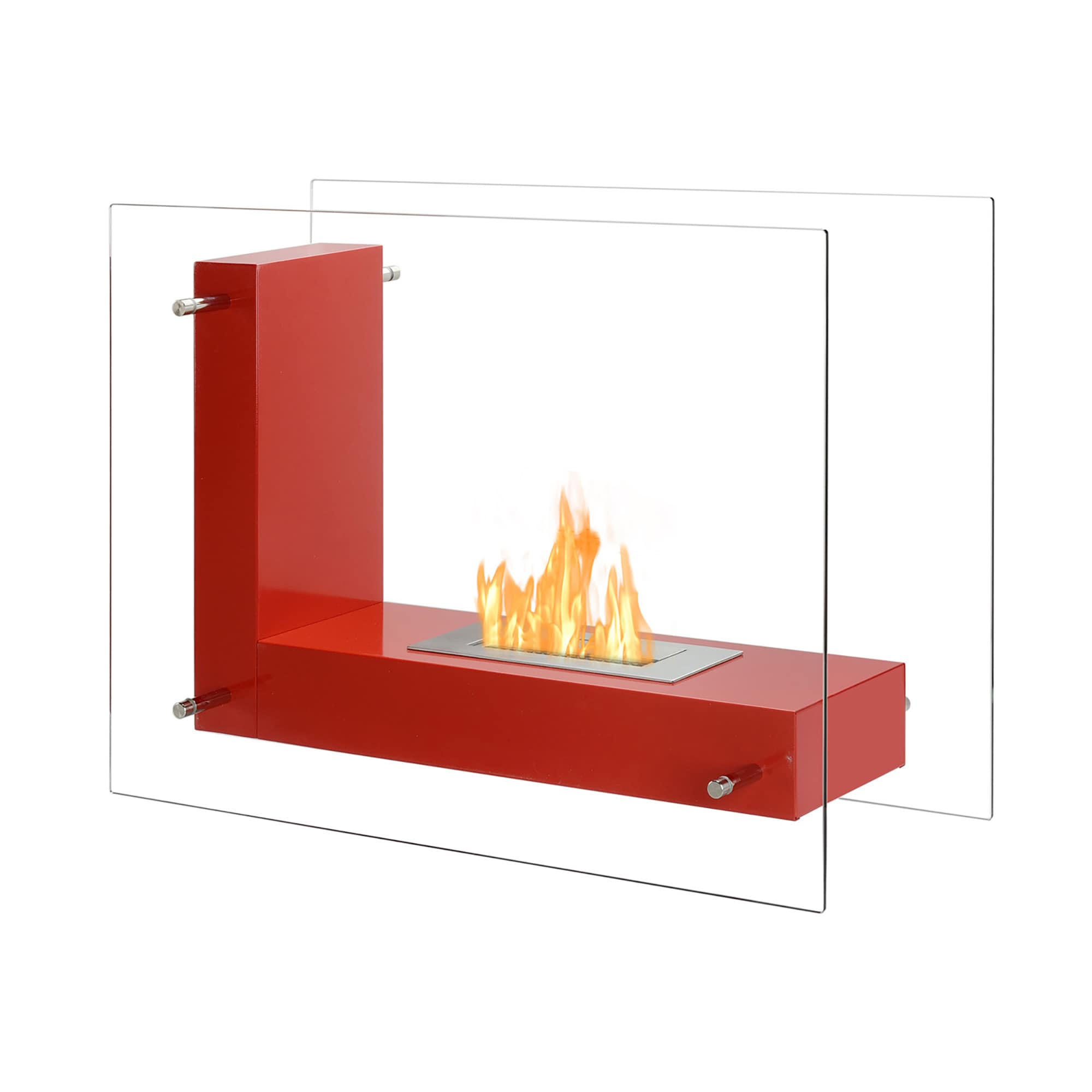Cool Ignis Vitrum L Red Freestanding Ventless Ethanol Fireplace Interior Design Ideas Philsoteloinfo