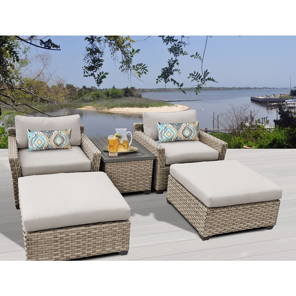 Shop Monterey 5 Piece Outdoor Wicker Patio Furniture Set 05a Free