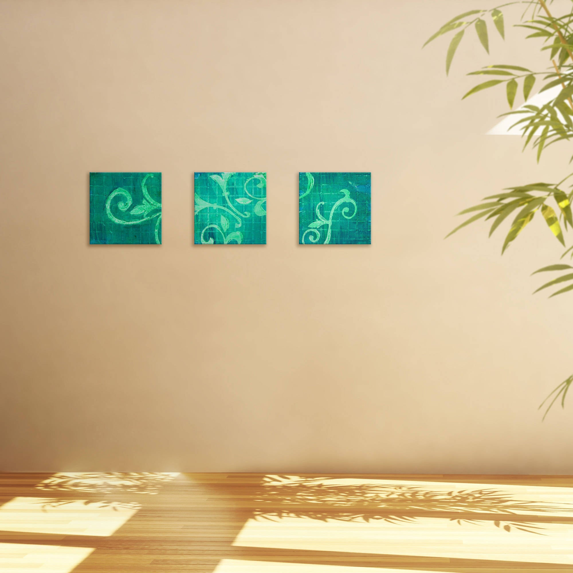Emerald Greenery Triptych Wall Art (Set of 3) - Green/Multi - Free ...