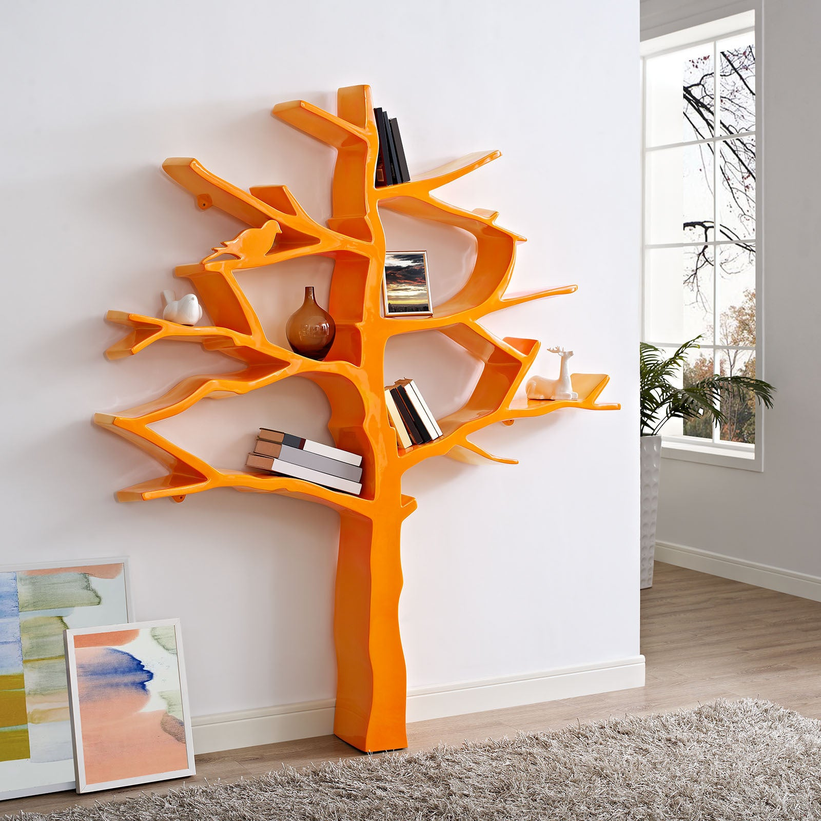 shelving living furniture bookcase wooden display bookcases orange rack tier shelf beech home storage room