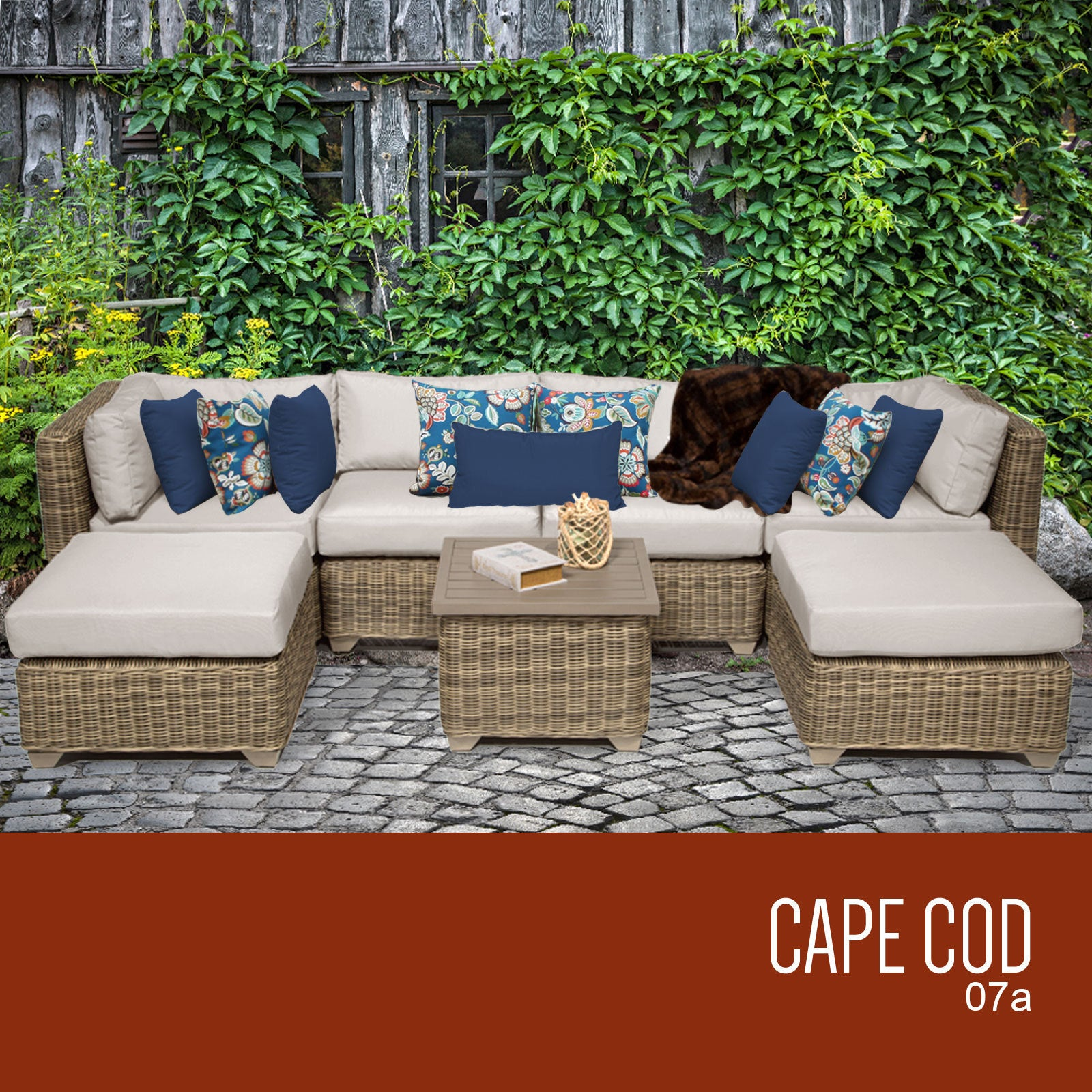 Cape Cod 7 Piece Outdoor Wicker Patio Furniture Set 07a Free