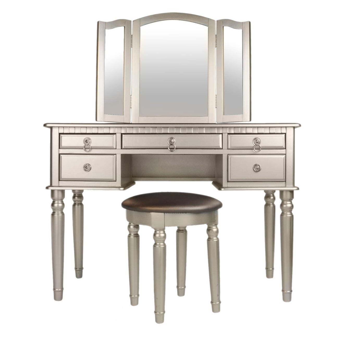 Bobkona St. Croix Rubberwood Veneer 3-fold Mirror Vanity Table with Stool Set with 5 Drawers - Free Shipping Today - Overstock - 21752228  sc 1 st  Overstock.com & Bobkona St. Croix Rubberwood Veneer 3-fold Mirror Vanity Table with ...