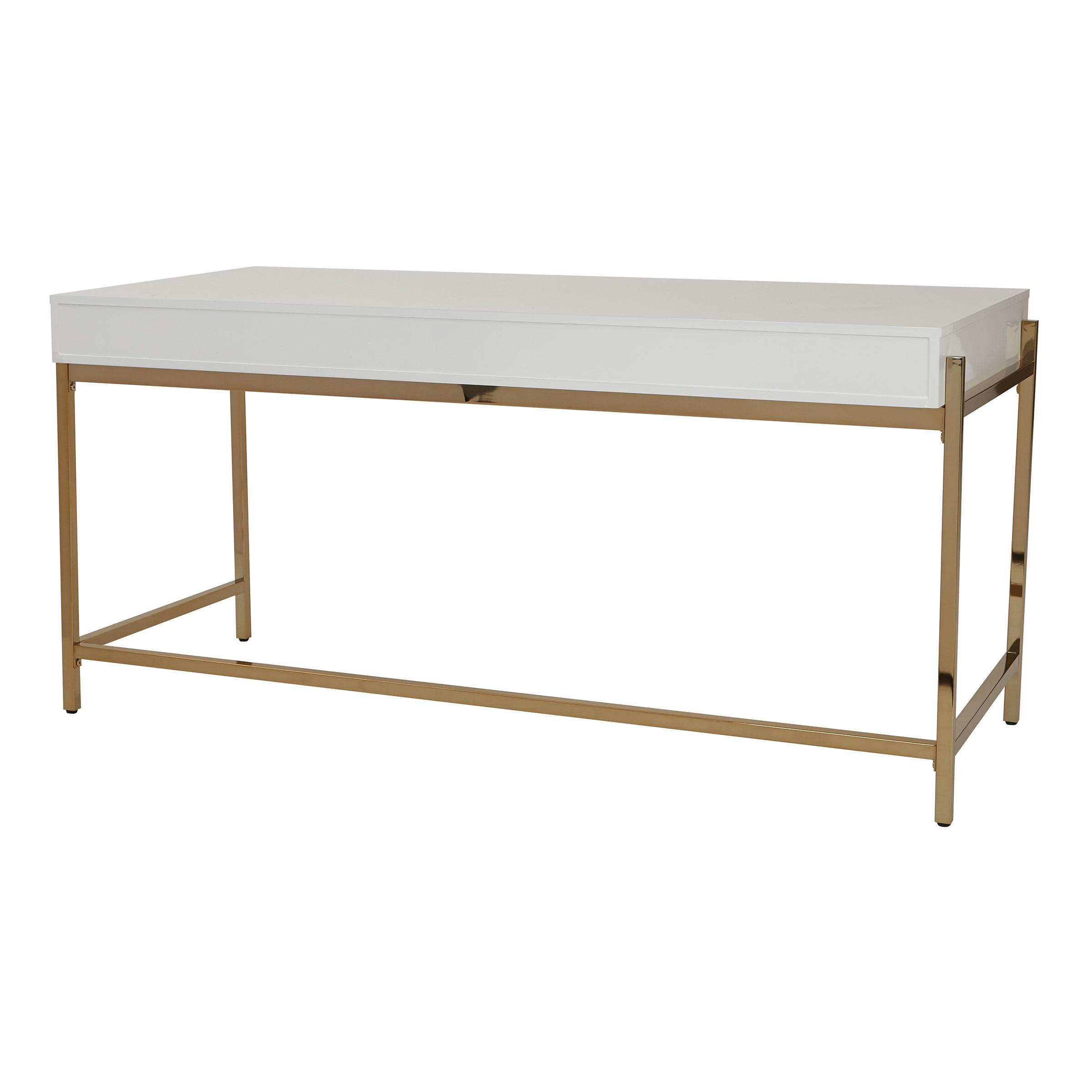 Shop Park Avenue White And Gold Writing Desk Free Shipping Today