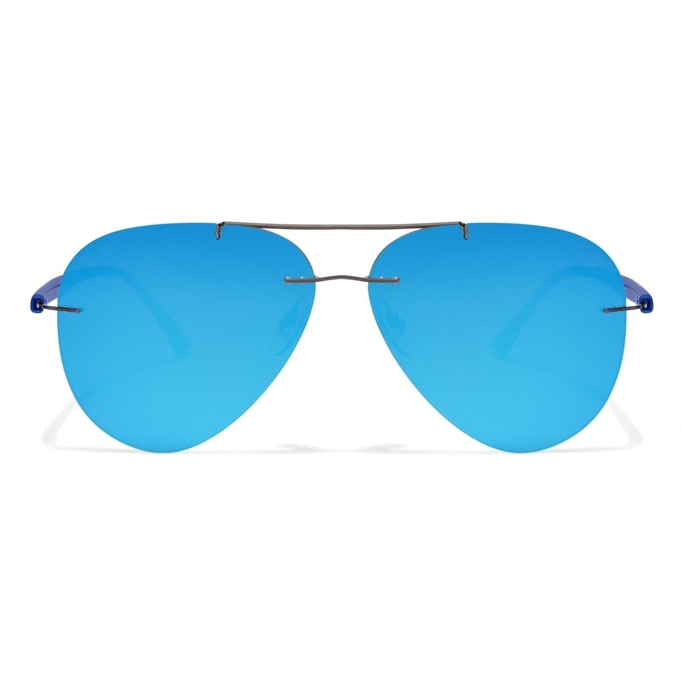 ffeba6d0754 Shop Ray-Ban RB8058 Men s Rimless Blue Mirror Lens Sunglasses - Free  Shipping Today - Overstock - 15287176