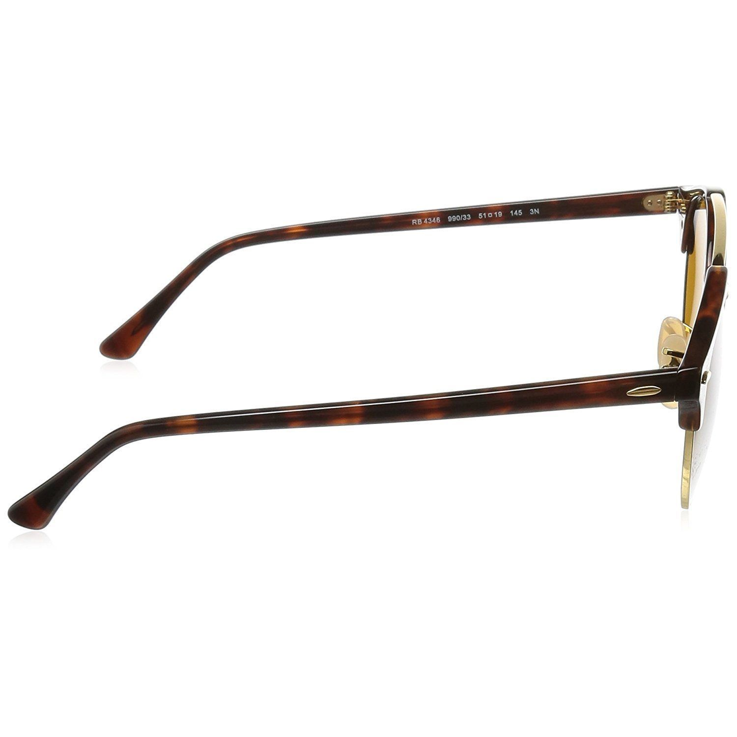 f144a7b8339f2 Shop Ray-Ban Clubround Double Bridge RB4346 Men s Tortoise Frame Brown Lens  Sunglasses - Free Shipping Today - Overstock - 15287220