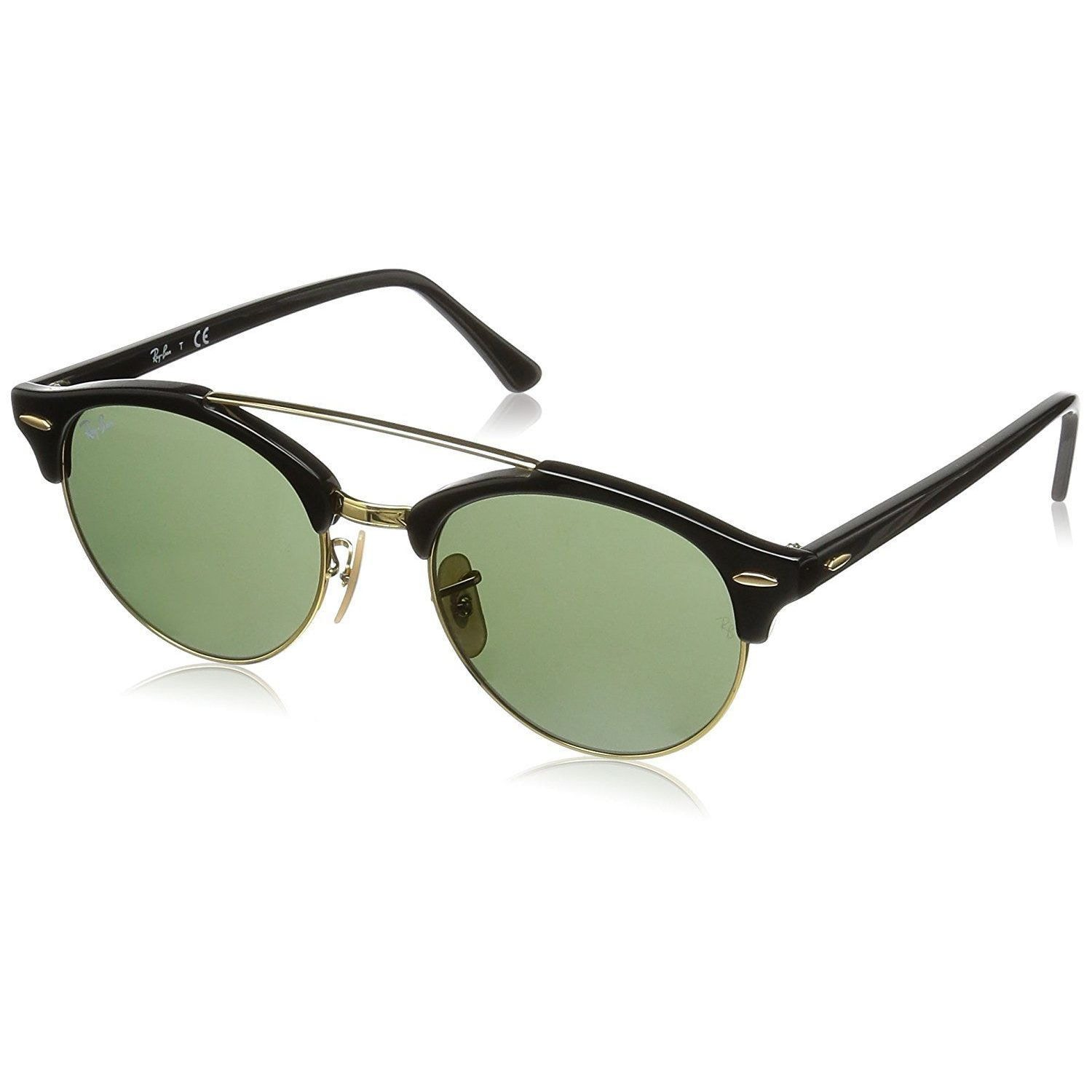 3d5b26c38b5 Shop Ray-Ban Clubround Double Bridge RB4346 901 Men s Black Frame Green  Classic Lens Sunglasses - Free Shipping Today - Overstock - 15287226
