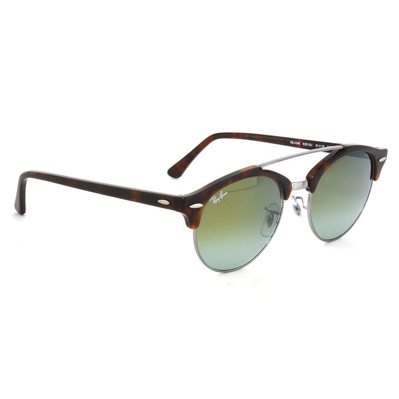 6e0f50e3ba Shop Ray-Ban Clubround Double Bridge RB4346 62519J Men s Tortoise Frame  Green Gradient Flash Lens Sunglasses - Free Shipping Today - Overstock -  15287255