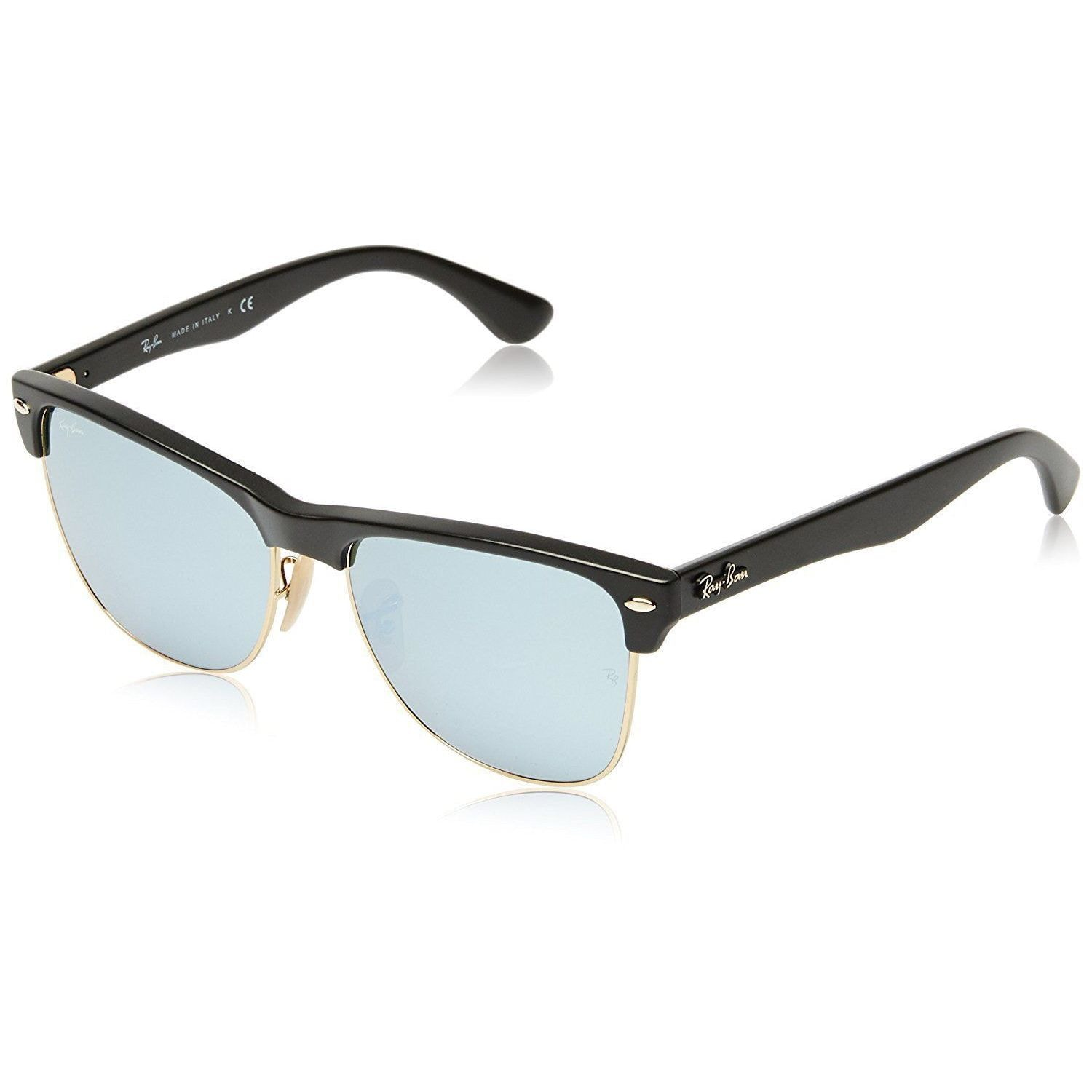 32680839305b4 Ray-Ban Clubmaster Oversized RB4175 877 30 Unisex Black Frame Silver Flash  57mm Lens Sunglasses