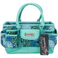 "Everything Mary Deluxe Store & Tote Organizer 13.5""X10""X8""-Navy & Teal Floral W/Teal Polka Dot Trim"