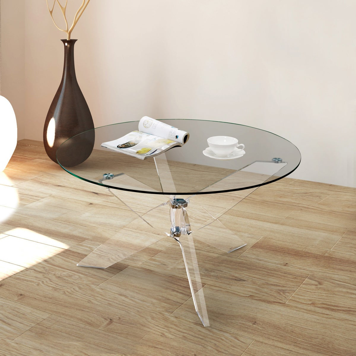 Shop Furniture Of America Leras Contemporary Clear Acrylic Glass Top Round Coffee  Table   Free Shipping Today   Overstock.com   15289747