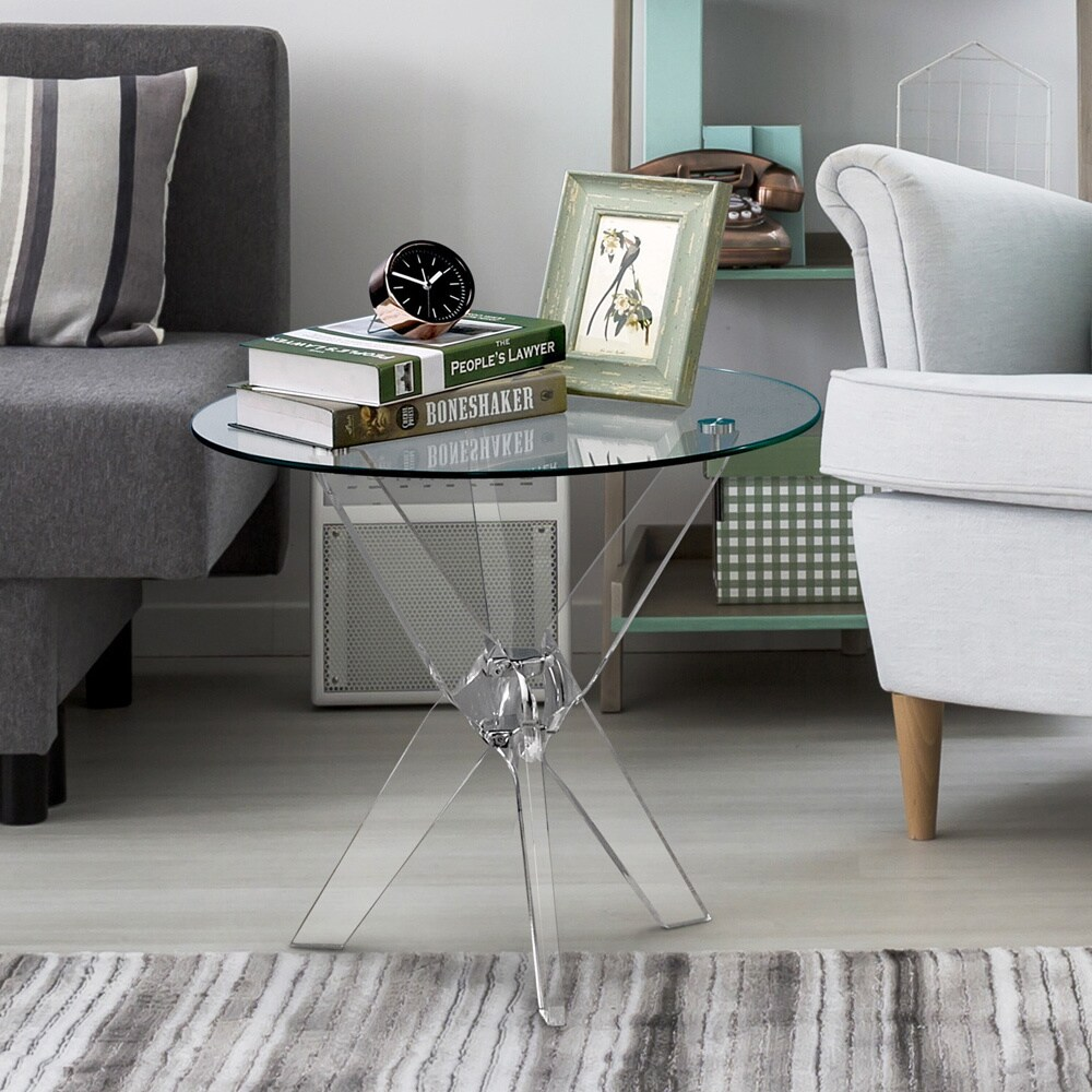 Furniture of america leras contemporary clear acrylic glass top round end table