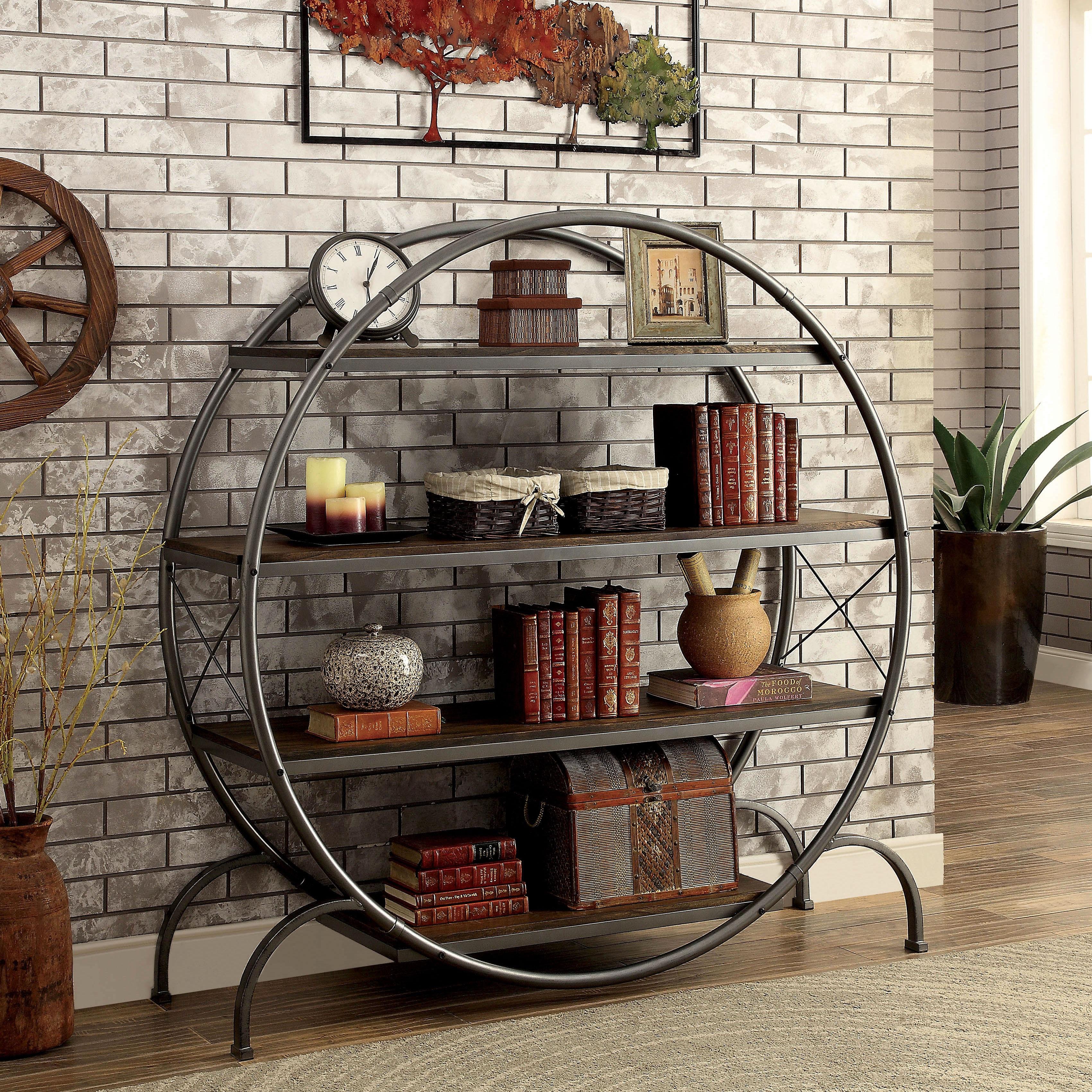 Furniture Of America Diovani Industrial Metal Dark Grey/Black Circular  4 Shelf Bookshelf   Free Shipping Today   Overstock.com   21758206