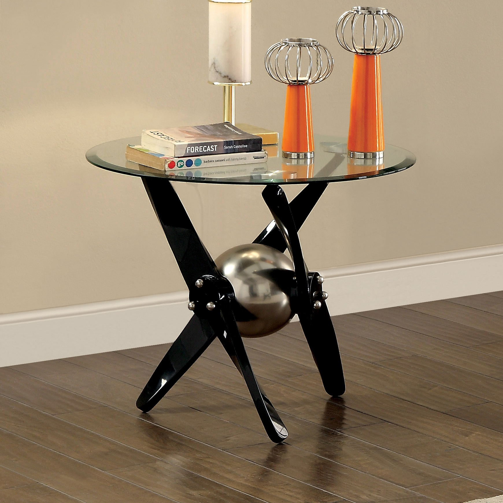 Furniture of america gene contemporary propeller style powder coated black end table