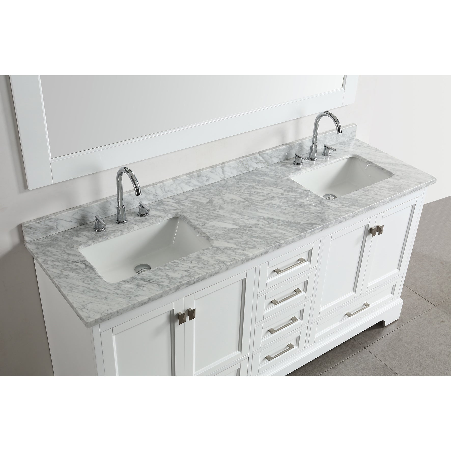 Shop Design Element Omega White 72-inch Double Sink Vanity Set With ...