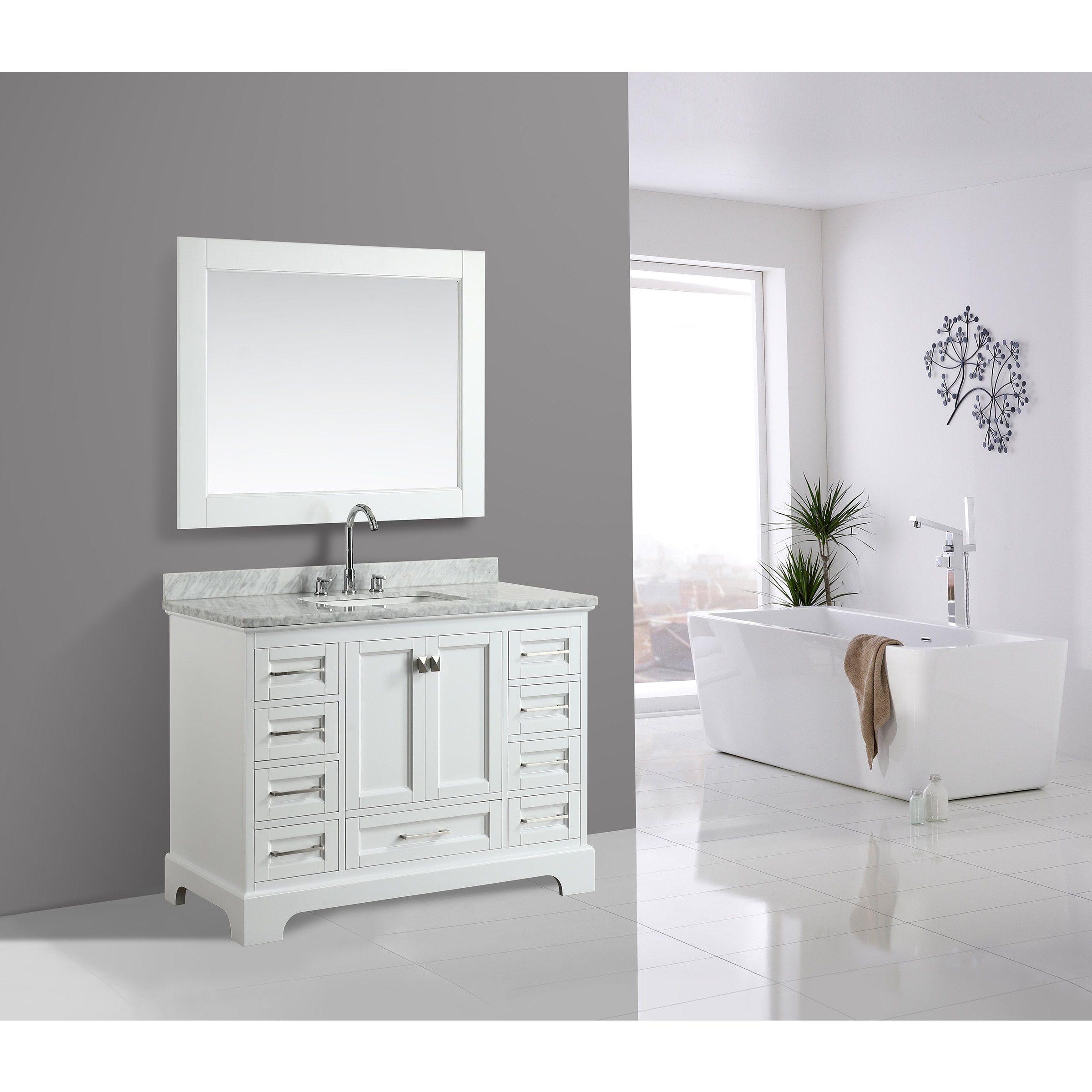 Shop Design Element Omega White 48-inch Single-sink Vanity Set with ...
