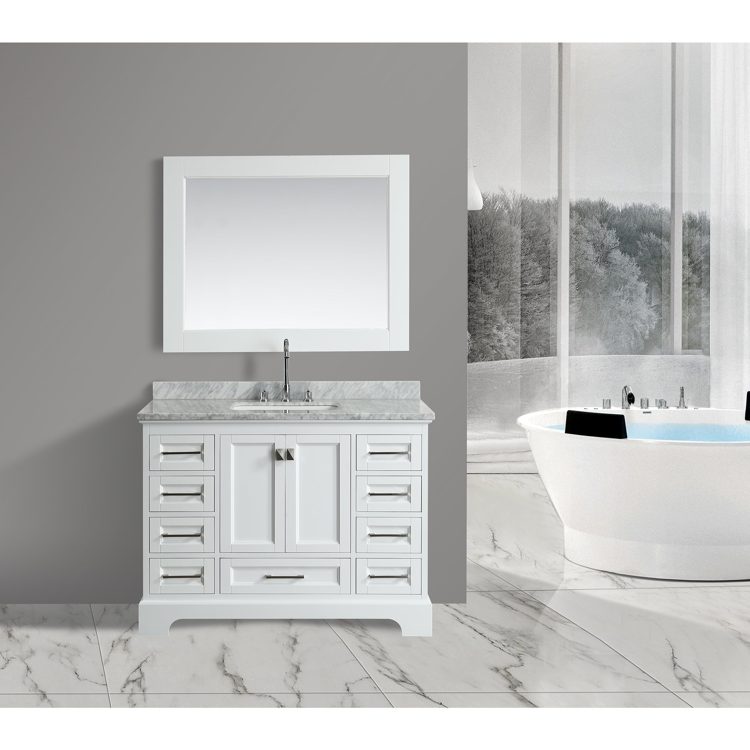 Bon Shop Design Element Omega White 48 Inch Single Sink Vanity Set With Mirror    Free Shipping Today   Overstock.com   15293915