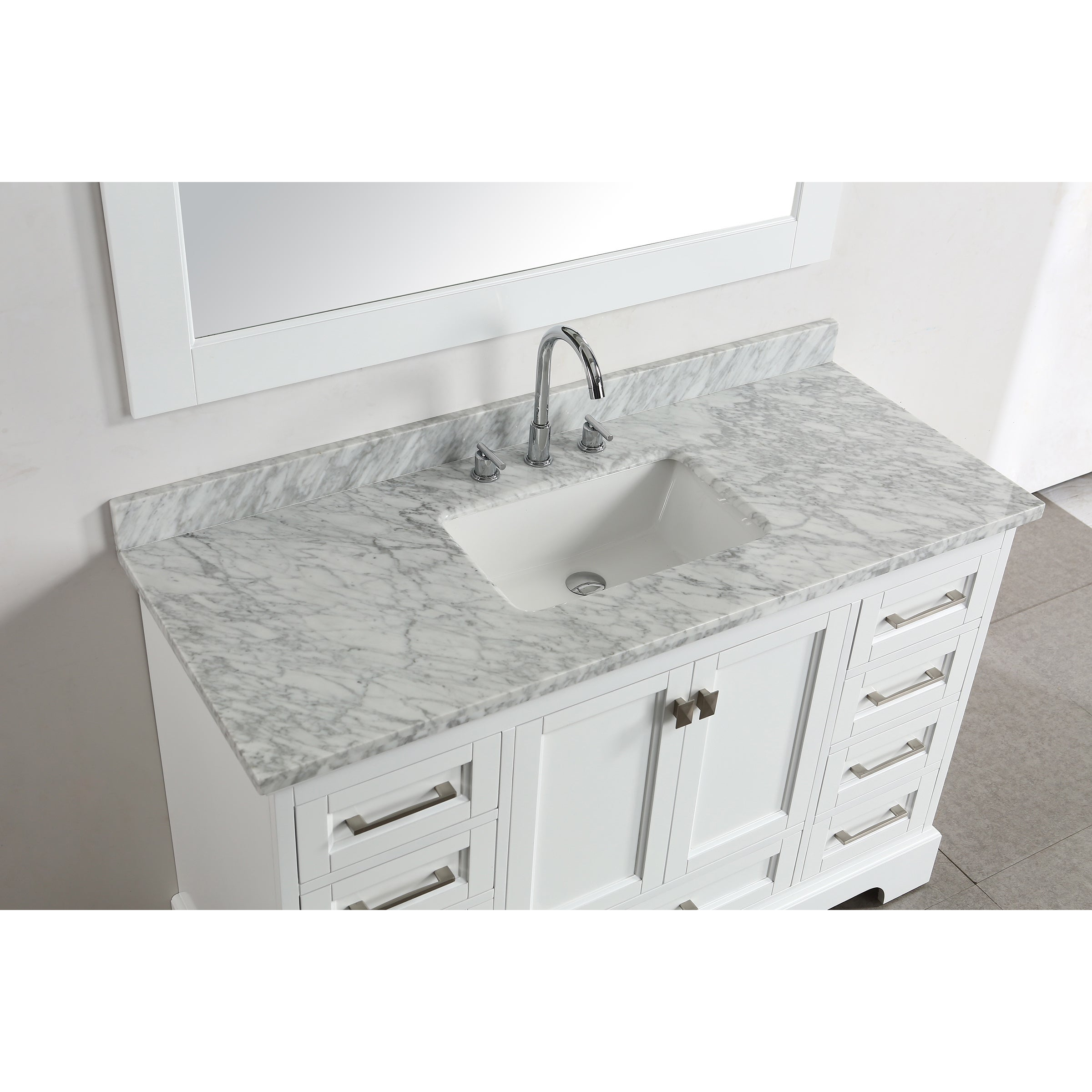 Shop Omega White 54-inch Single-sink Mirror Vanity Set - Free ...