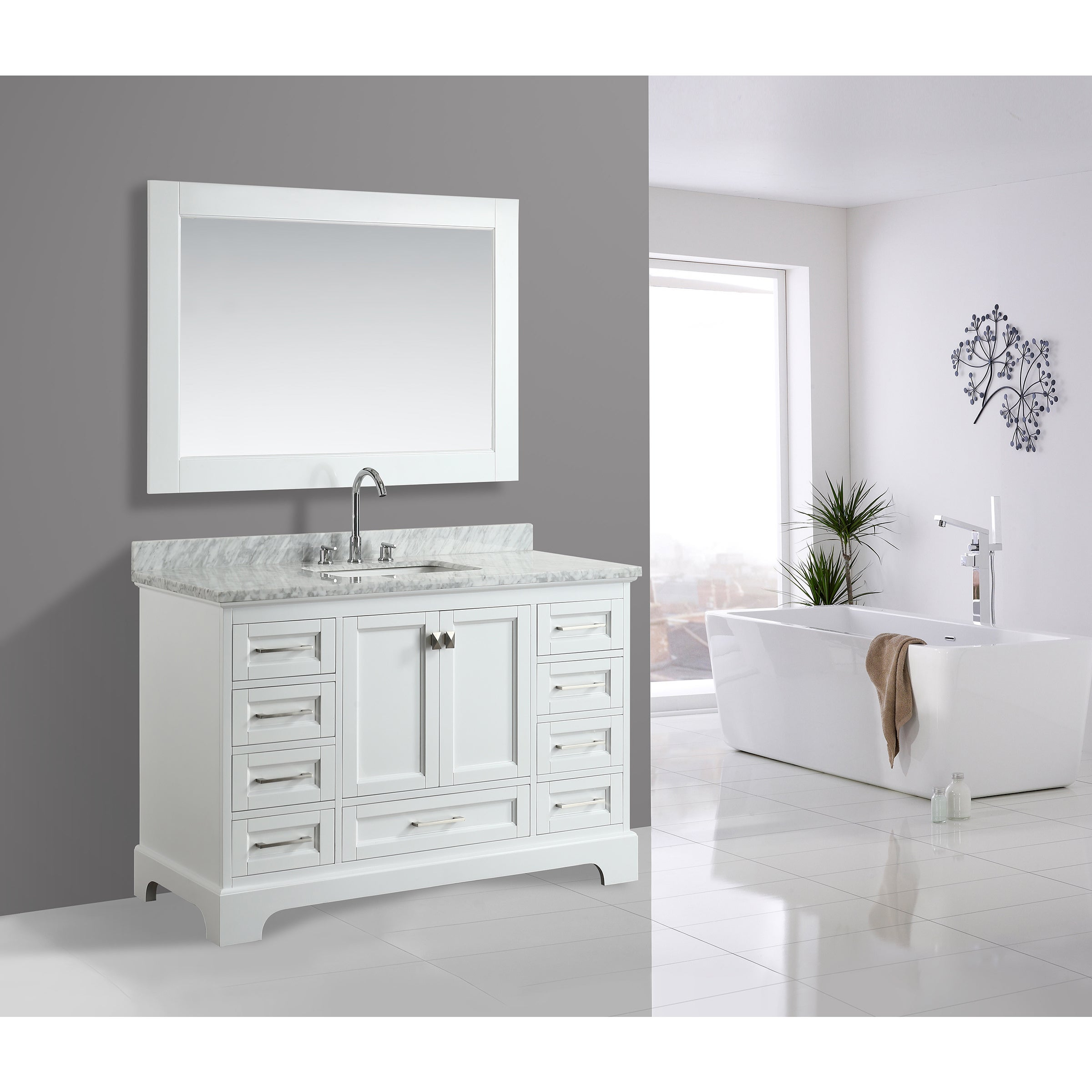 Omega White 54 Inch Single Sink Mirror Vanity Set Free Shipping Today 15293919
