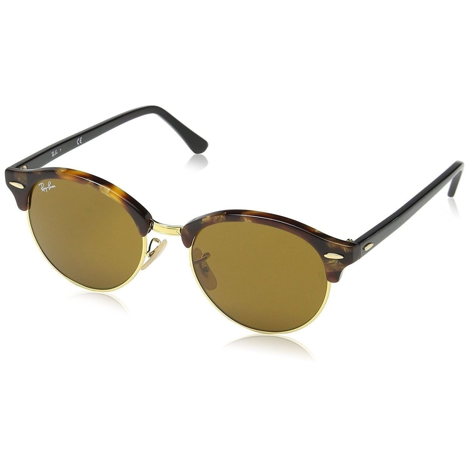 15bda0aef704d Shop Ray-Ban Clubround RB4246 1160 Unisex Tortoise Black Frame Brown  Classic 51mm Lens Sunglasses - Ships To Canada - Overstock - 15297158
