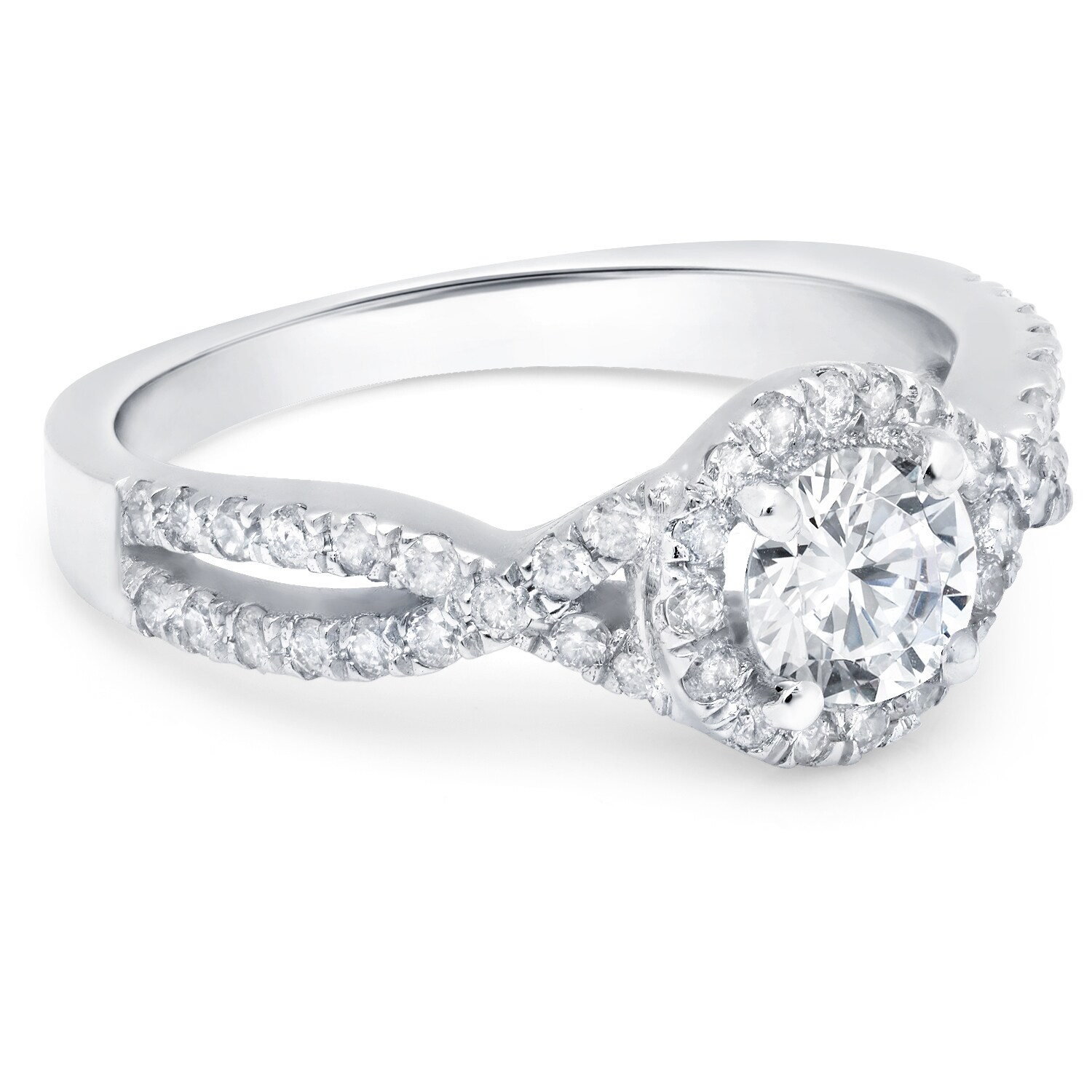 ring product gold stackable infinity white band diamond twist wedding