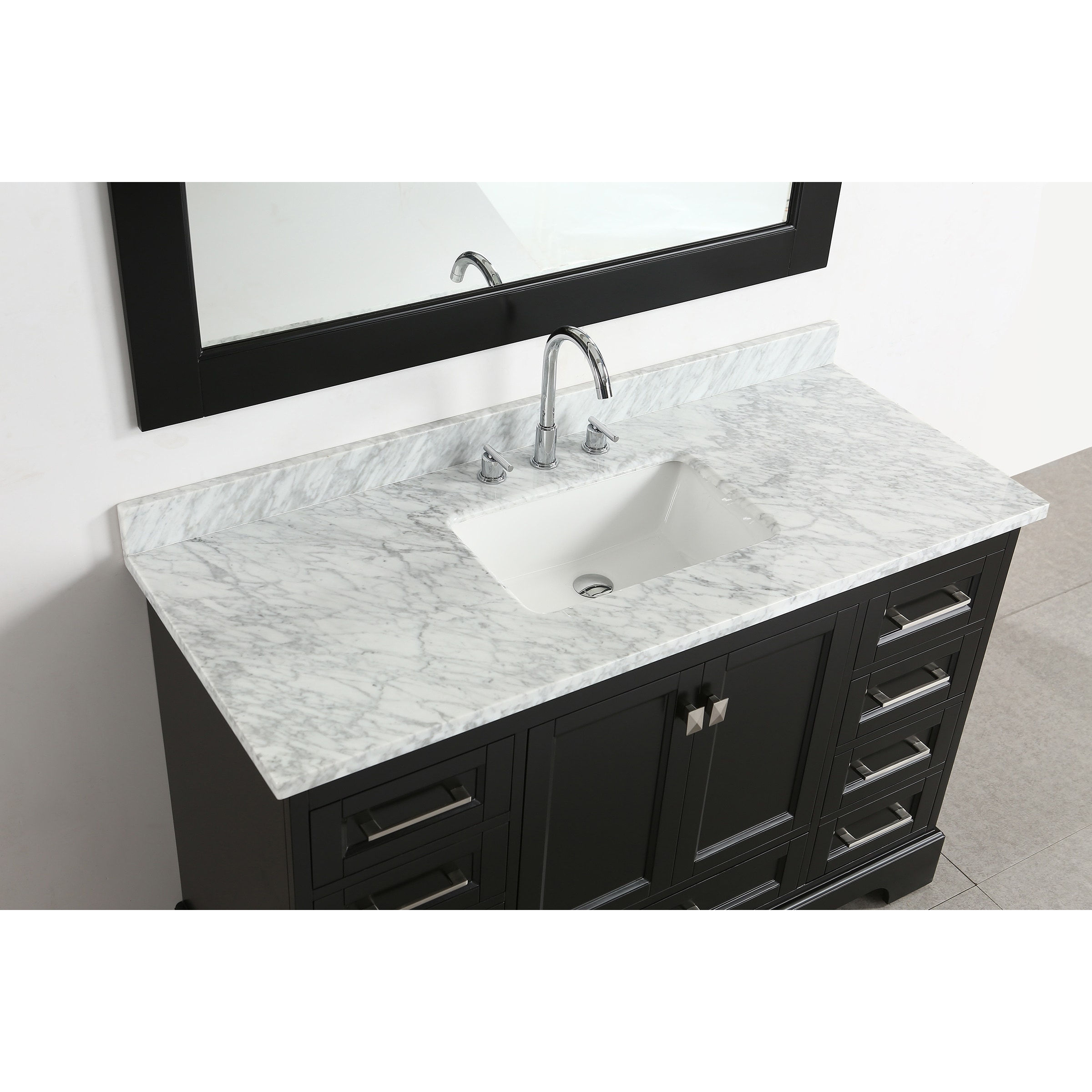 Shop Design Element Omega Espresso Wood/Porcelain/Marble Single Sink ...