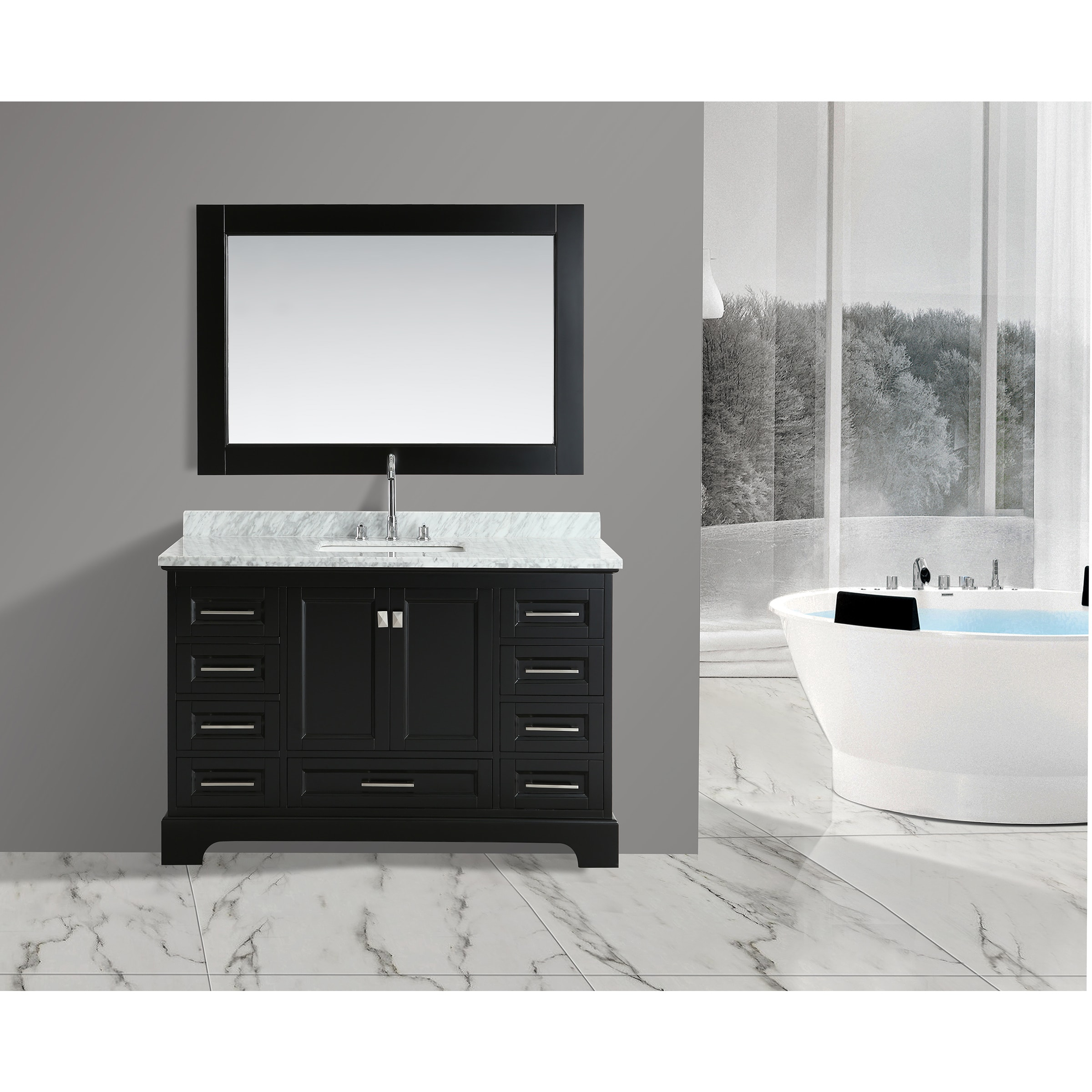 Shop Design Element Omega Espresso Wood/Porcelain/Marble Single Sink Vanity  Set With Mirror   Free Shipping Today   Overstock.com   15297809