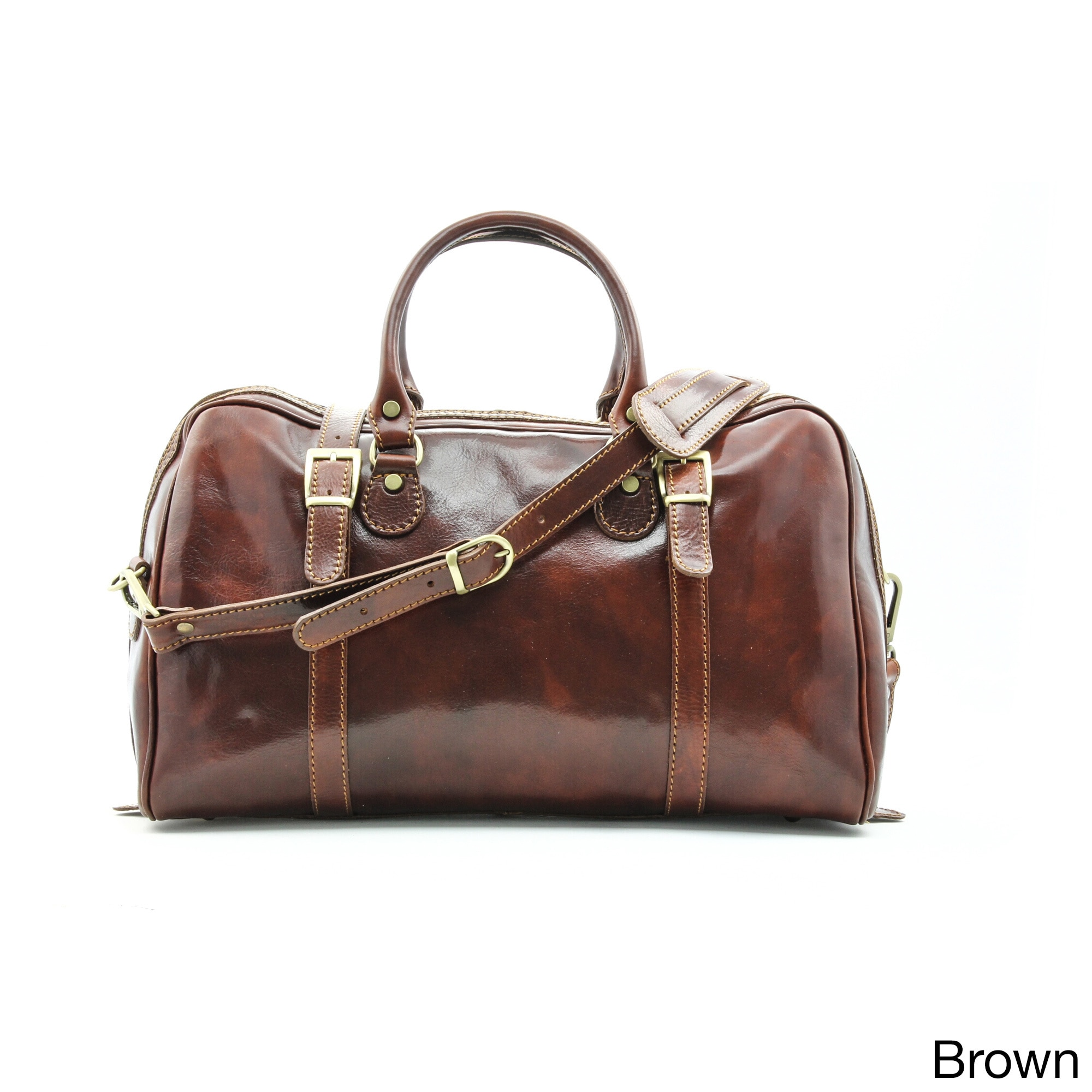 Shop Alberto Bellucci Milano Italian Leather Carry-on Overnight Getaway Duffel  Bag - Free Shipping Today - Overstock.com - 15298115 29d3d39be0