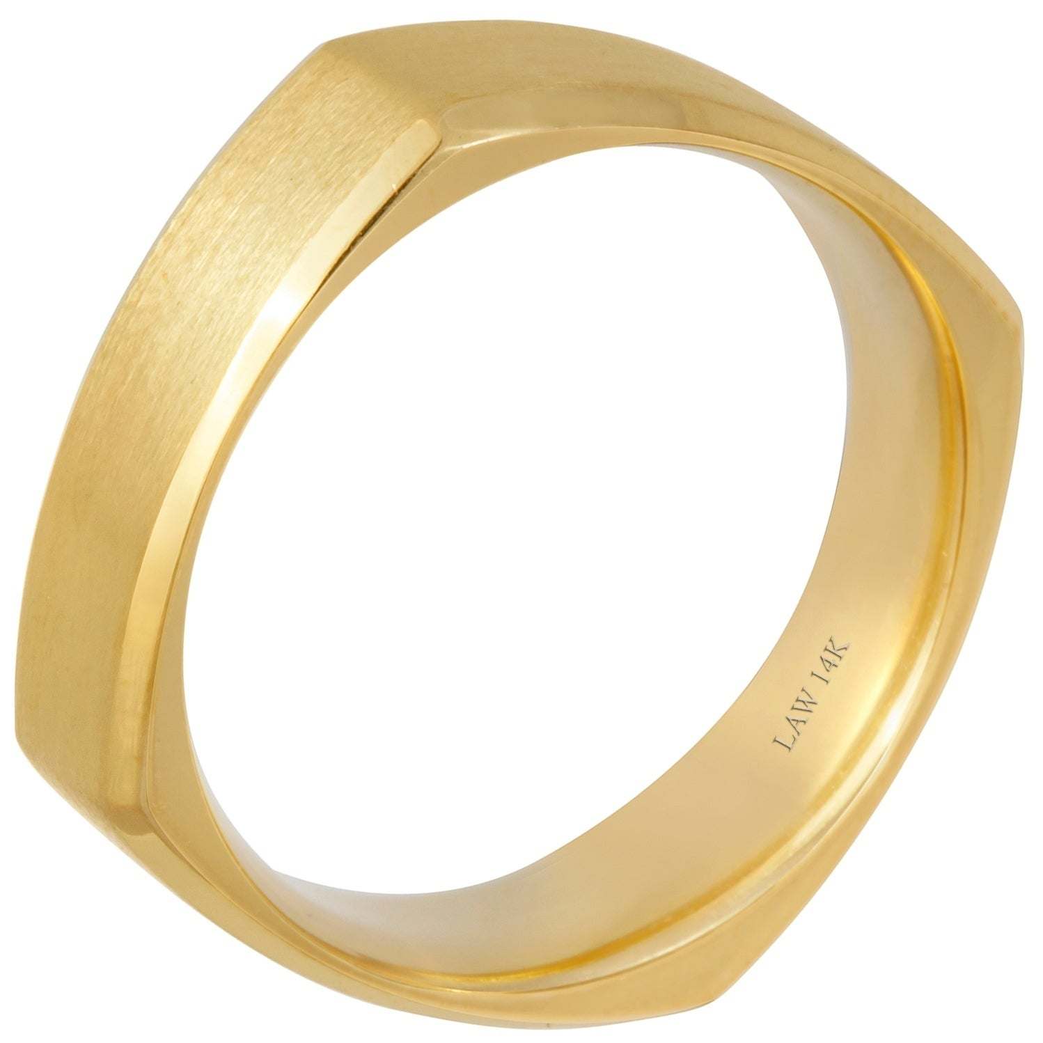 3c9df1397f3 Shop 14k Yellow Gold Satin Beveled Comfort Fit Men s Square Wedding Bands -  On Sale - Free Shipping Today - Overstock - 15299076