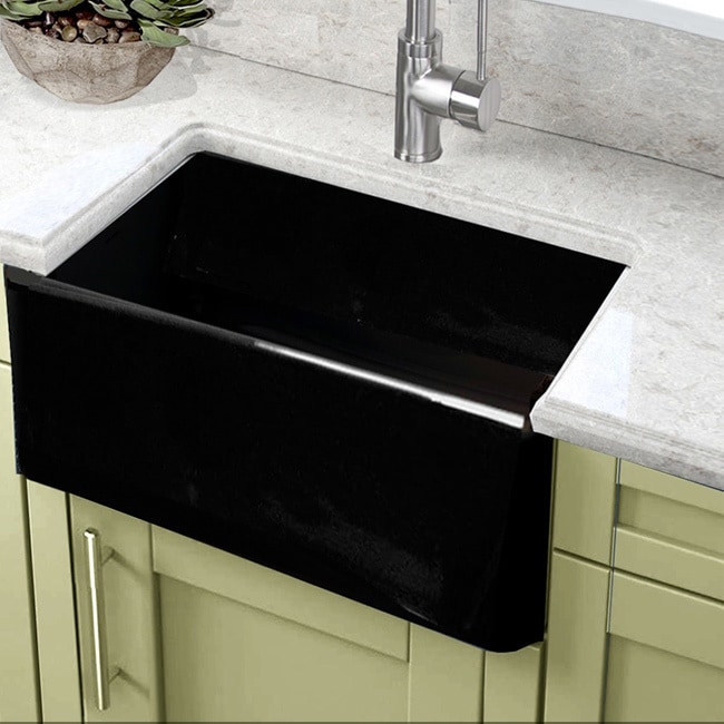 Highpoint collection 24 inch black single bowl rectangle fireclay highpoint collection 24 inch black single bowl rectangle fireclay farmhouse kitchen sink free shipping today overstock 21766923 workwithnaturefo