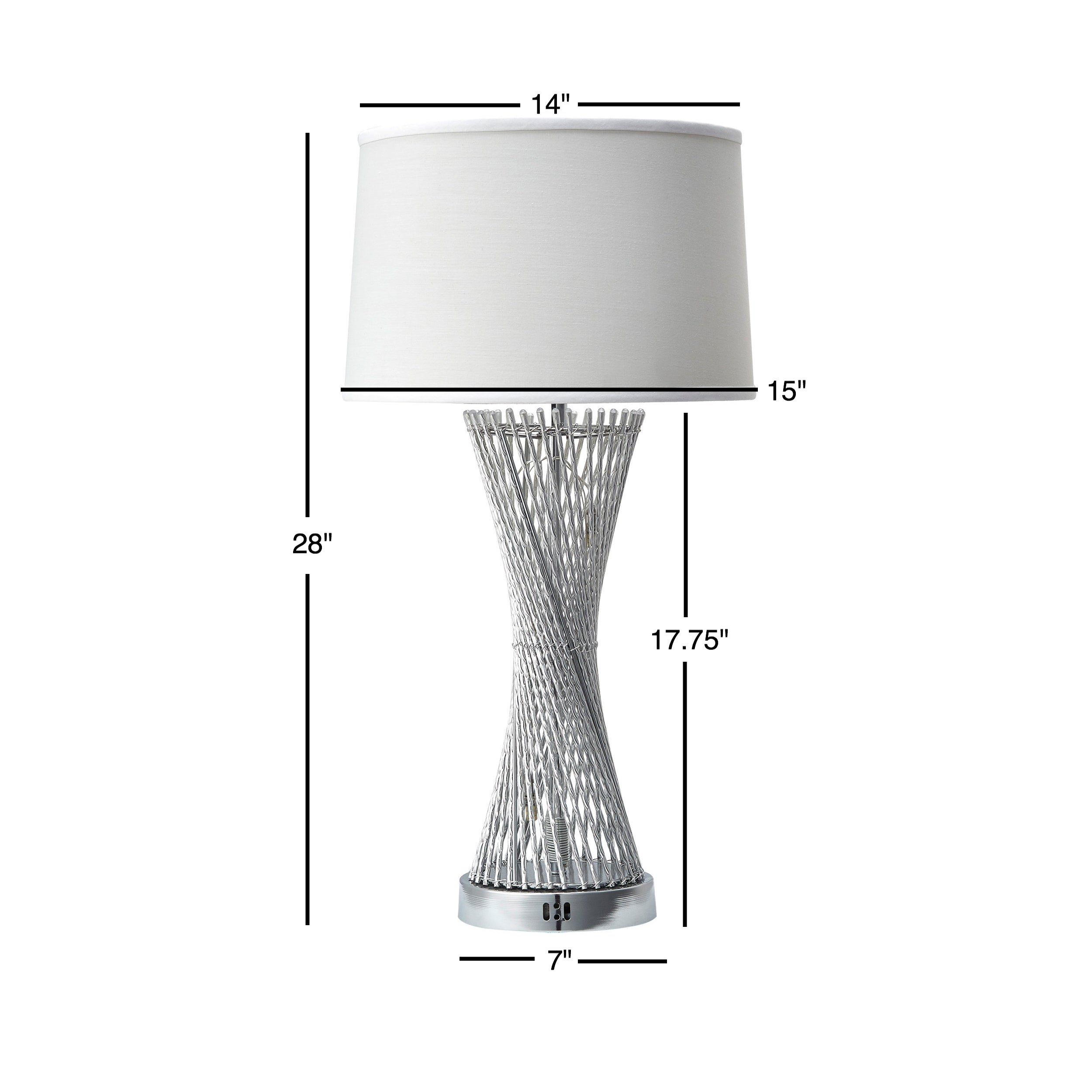 Aquila Round Base Caged Table Lamp with LED Night Light by iNSPIRE Q