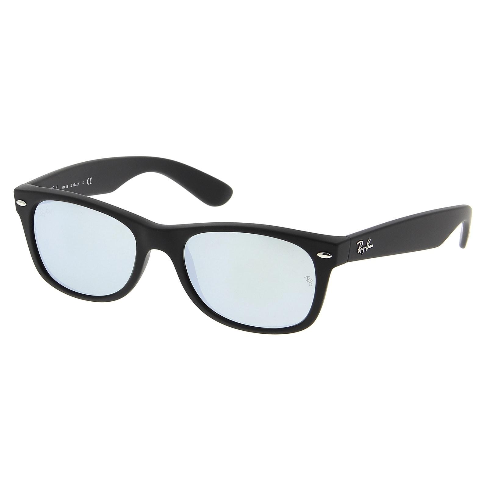 9d25dd9d93a Shop Ray-Ban New Wayfarer Flash RB2132 Unisex Matte Black Frame Silver  Flash 52mm Lens Sunglasses - Free Shipping Today - Overstock - 15310789