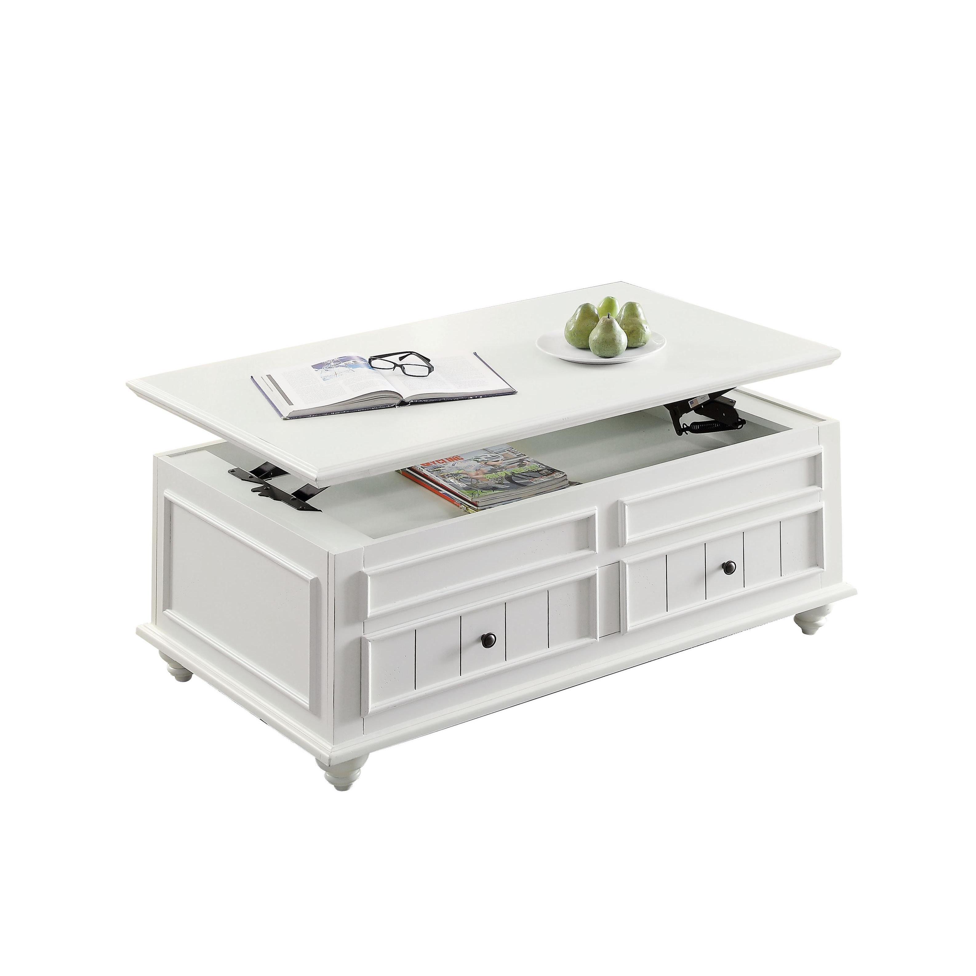 Acme Furniture Natesa Coffee End Table White Washed Free