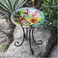 Butterflies with Flowers Bird Bath with Stand