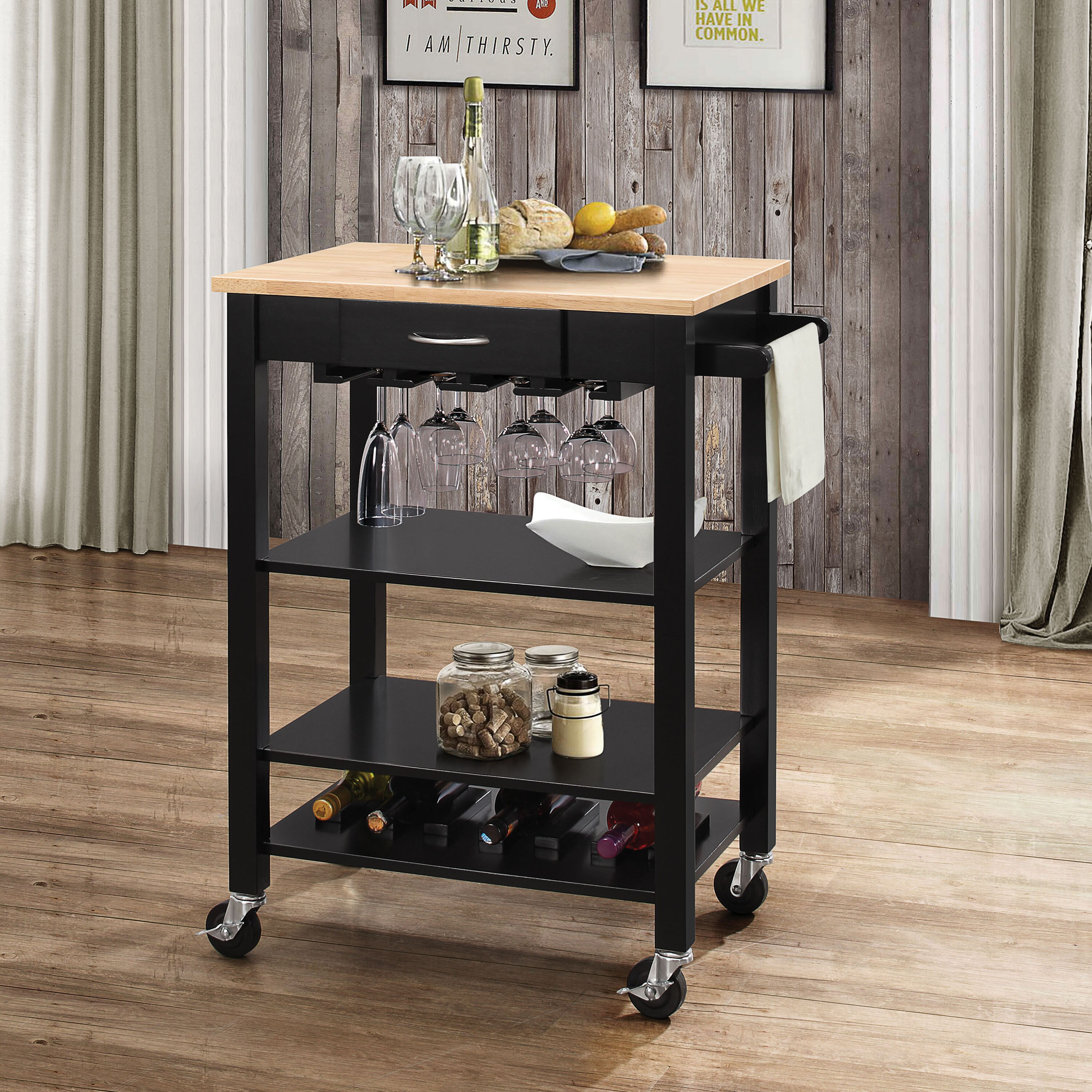 Acme Furniture Ottawa Natural and Black Kitchen Cart - Free Shipping ...
