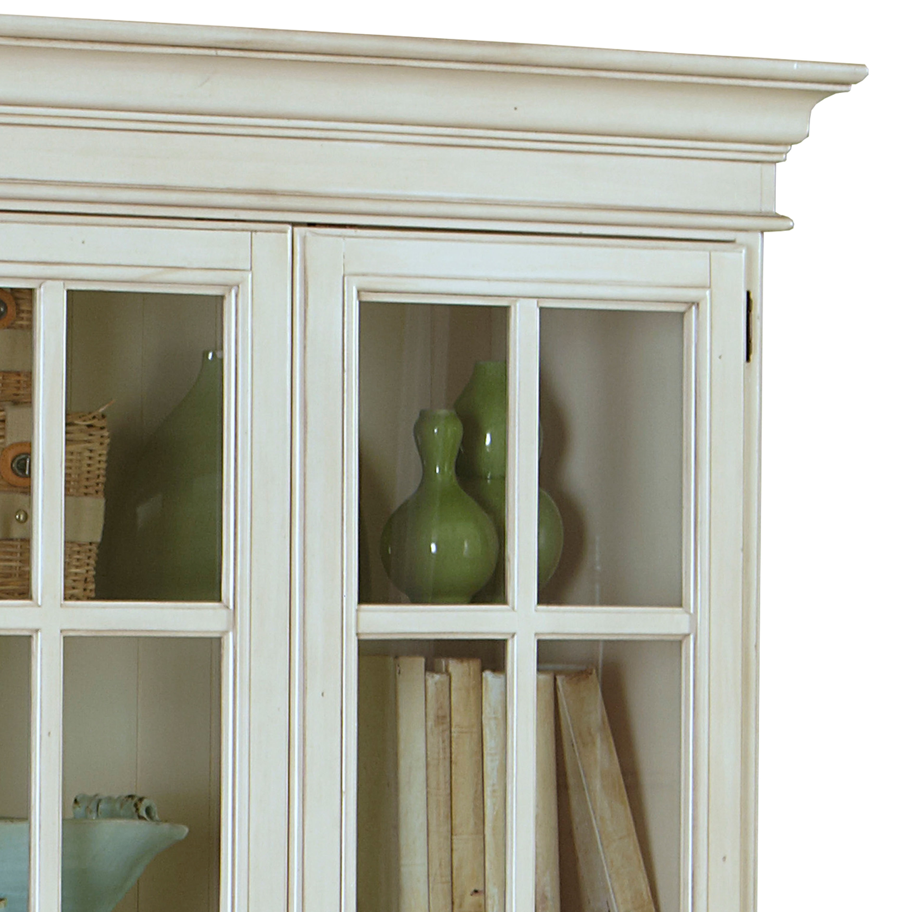 Hillsdale Furniture Pine Island Old White Finish Large Library  # Vitrines Television En Bois