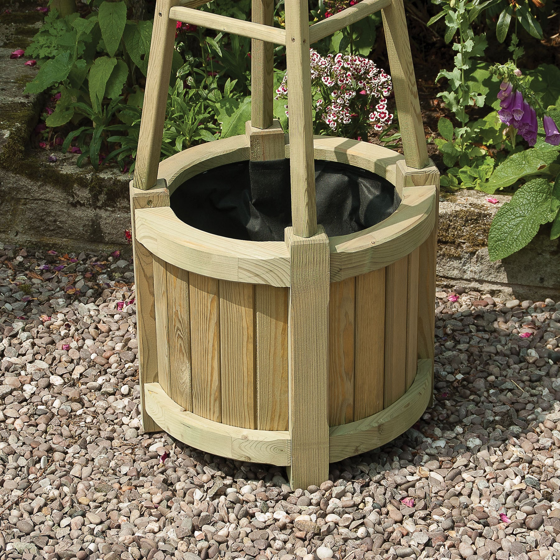 Marberry Obelisk English Garden Brown Wood Round Planter On Free Shipping Today 15313405