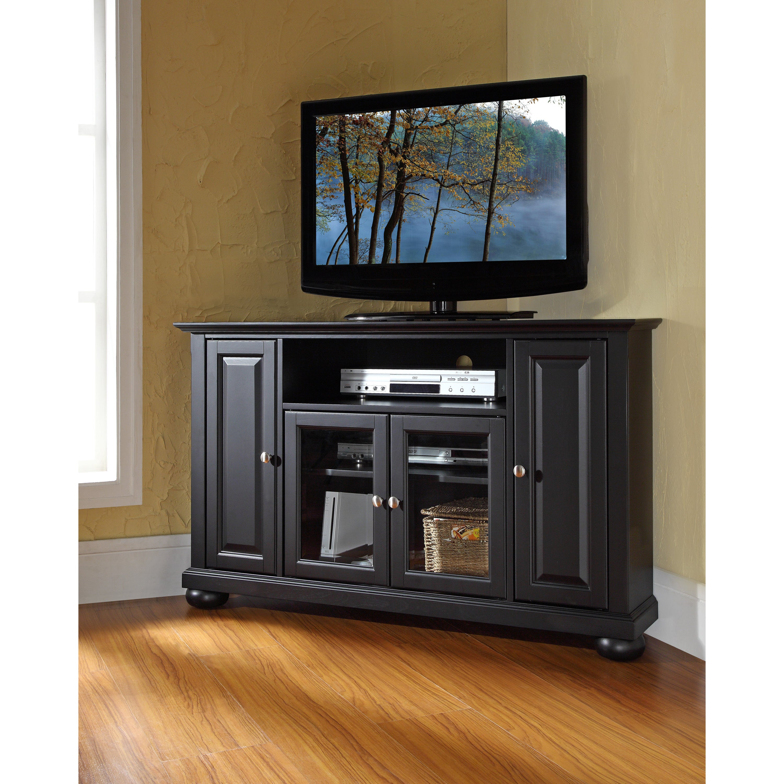 Shop Alexandria Black 48 Inch Corner Tv Stand Free Shipping Today