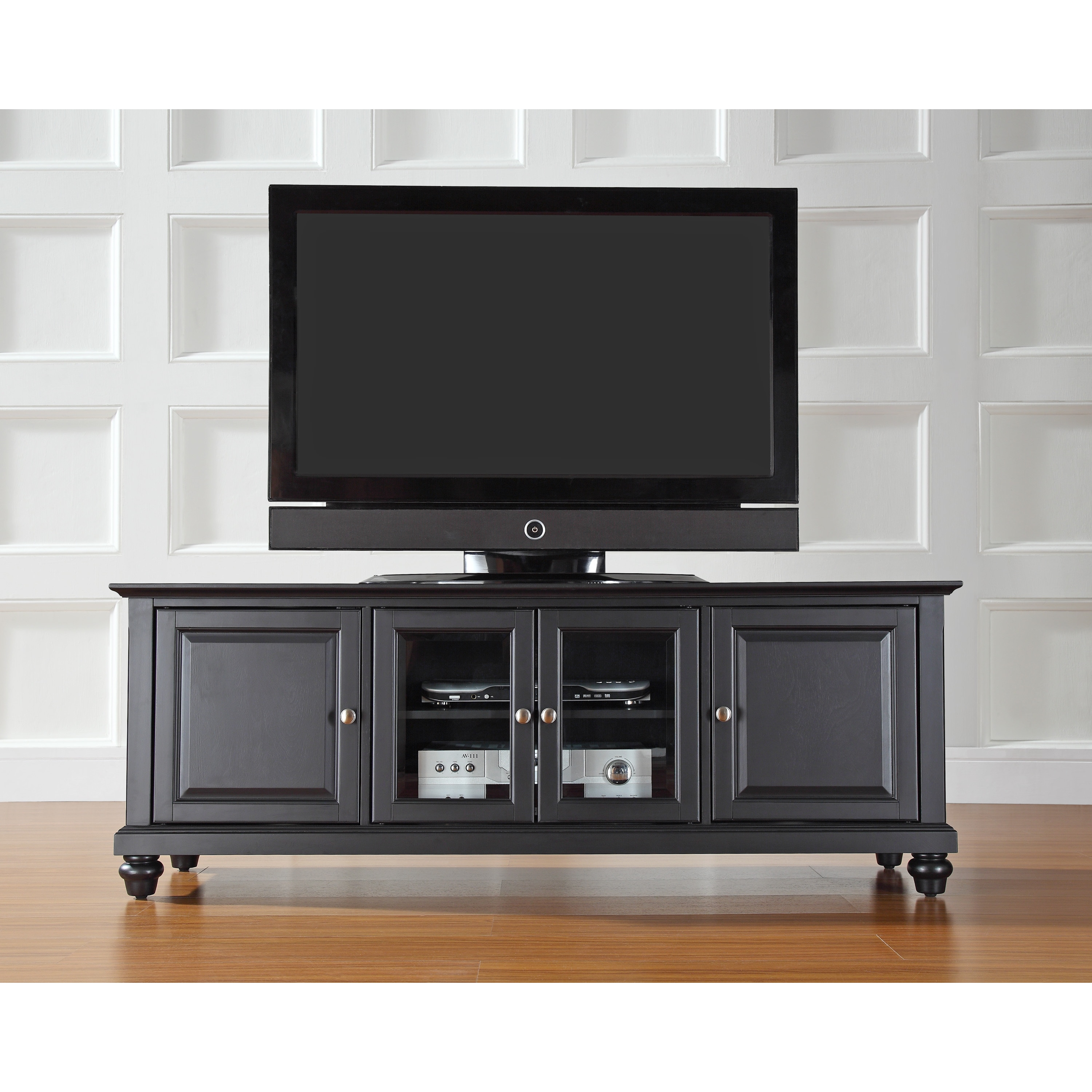 63e735d5a097 Shop Cambridge Black Finish Wood 60-inch Low Profile TV Stand - Free  Shipping Today - Overstock - 15315620