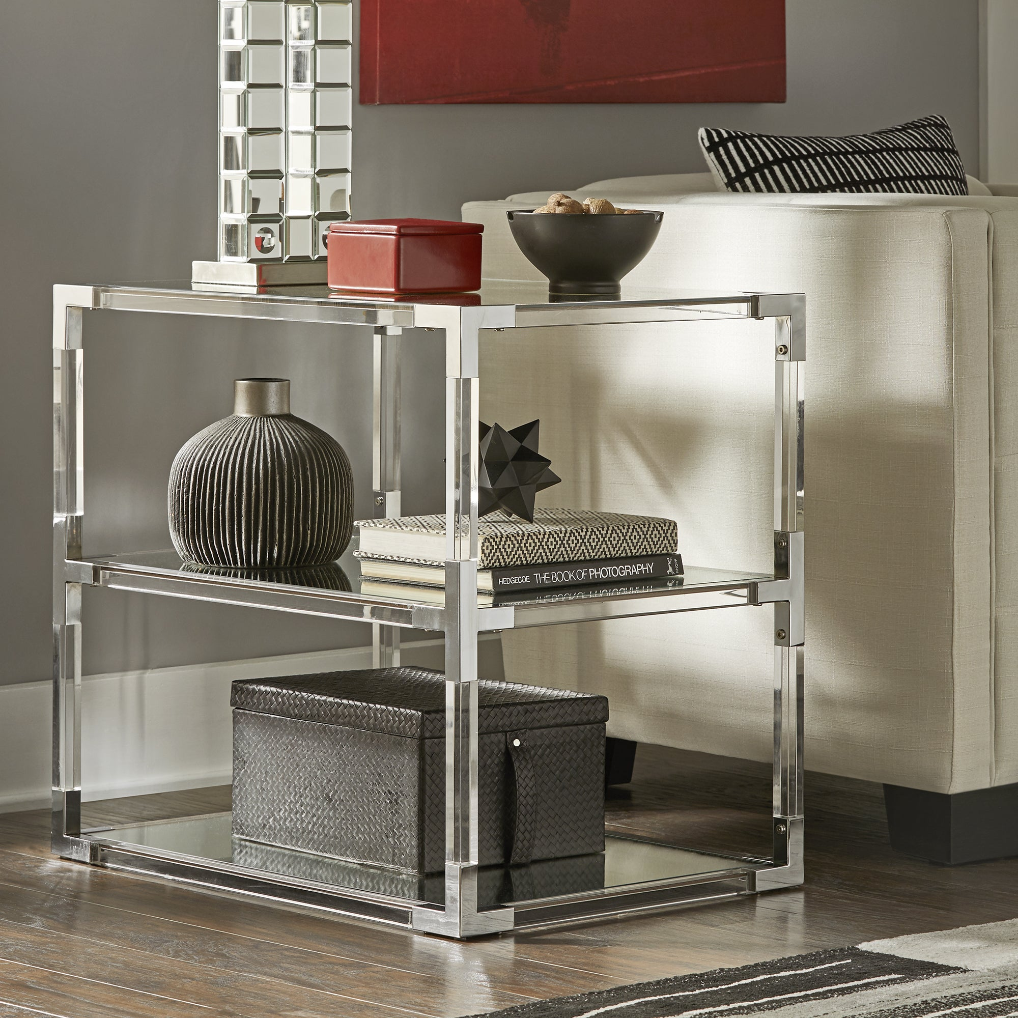 Cyrus Clear Chrome Corner Mirrored Shelf End Table by iNSPIRE Q Bold - Free  Shipping Today - Overstock.com - 21781608