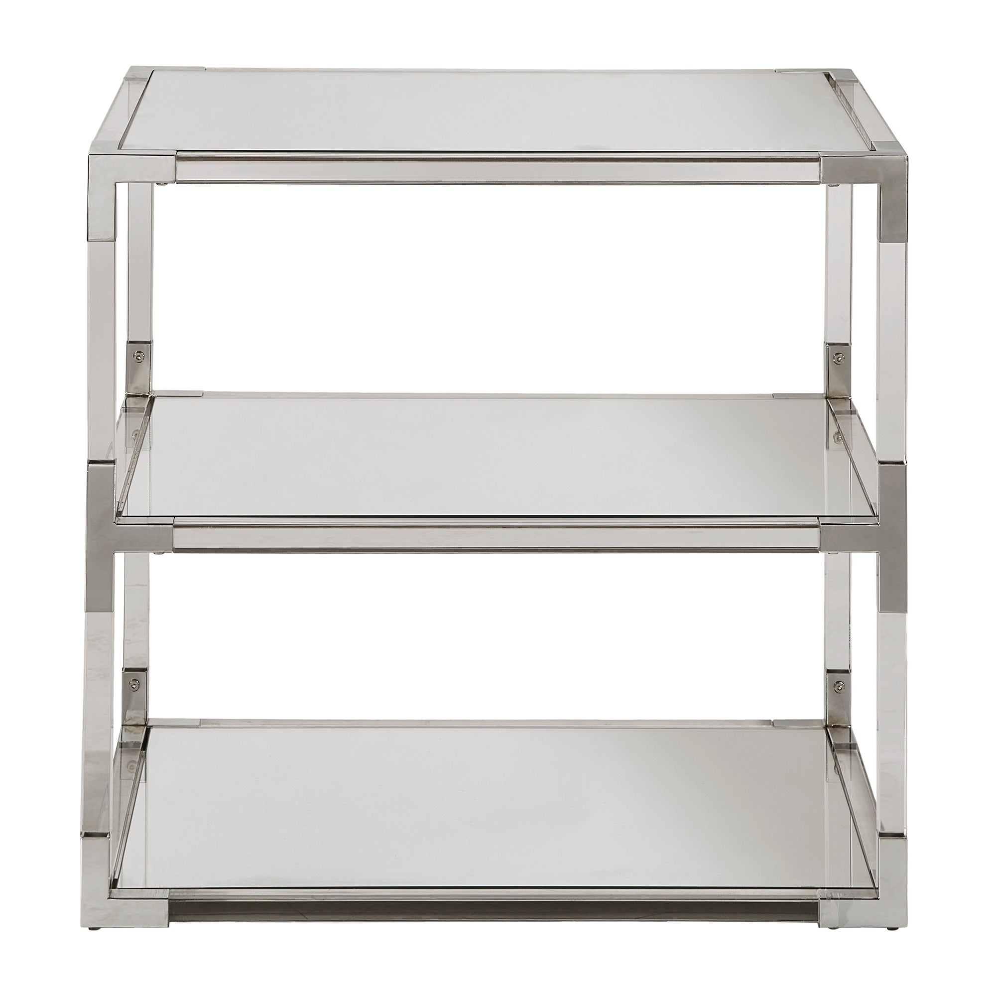 Shop Cyrus Clear Chrome Corner Mirrored Shelf End Table By INSPIRE Q Bold    Free Shipping Today   Overstock.com   15315705
