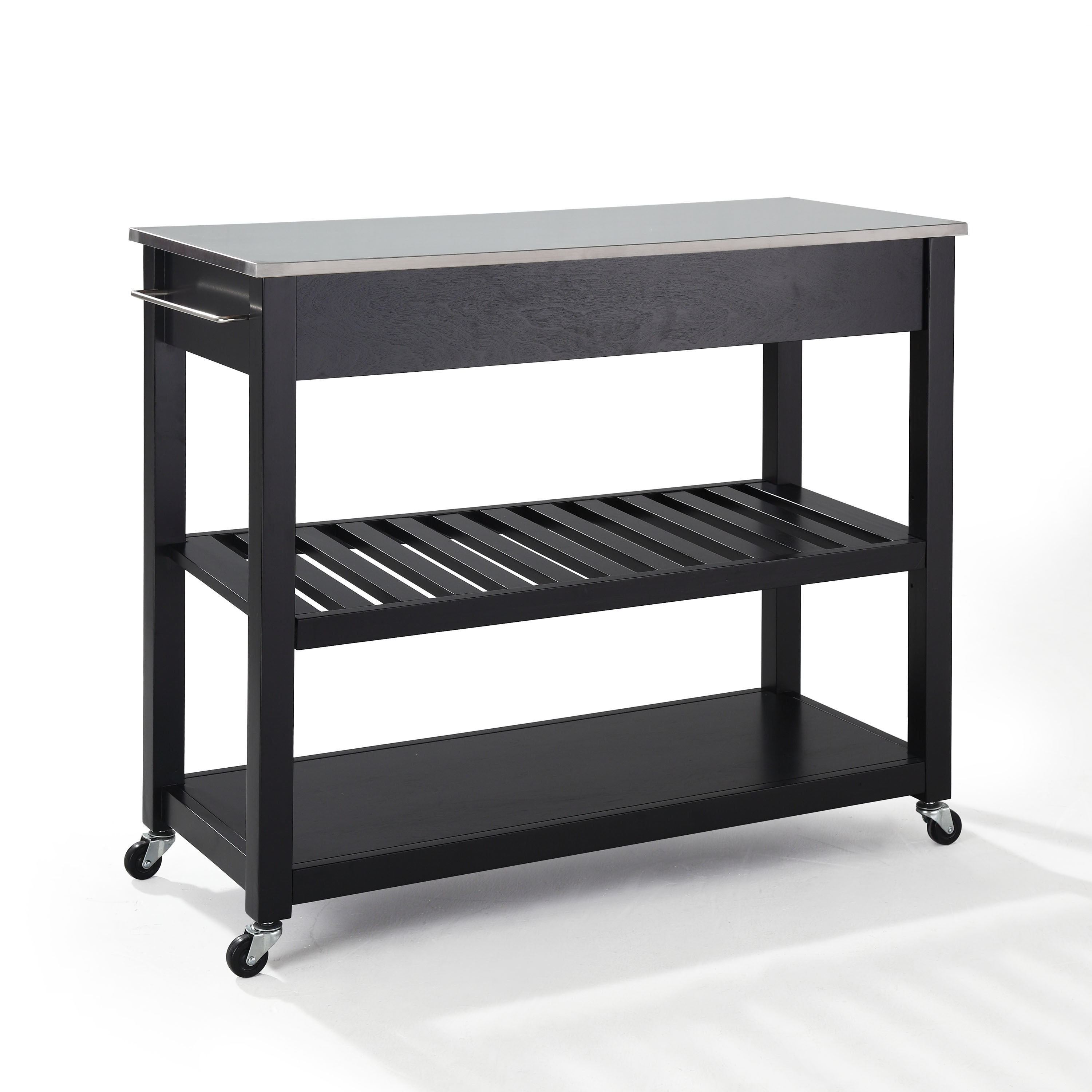 Black Finish Stainless Steel Top Kitchen Cart Island with Optional